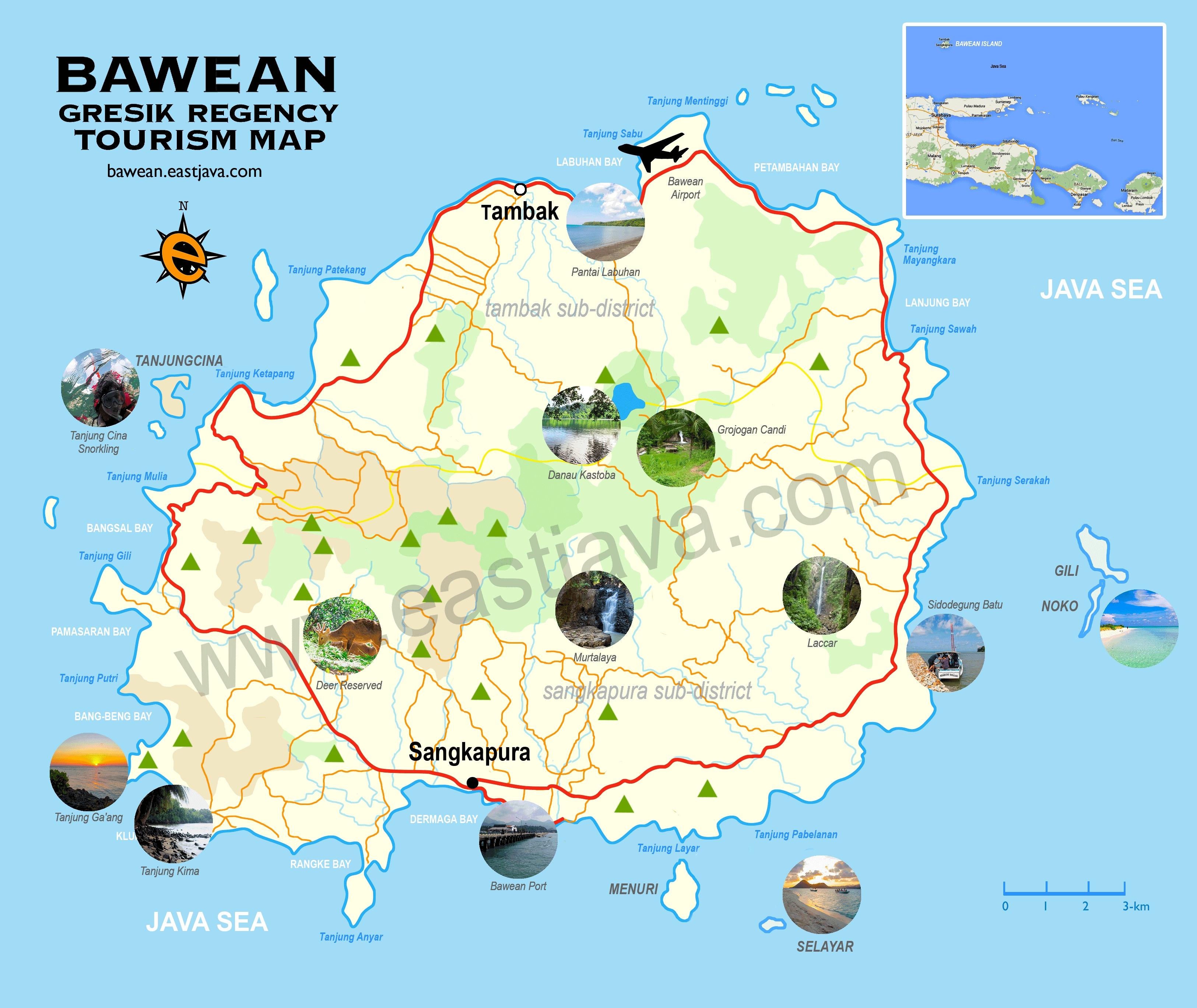 Tourist map of Bawean Island