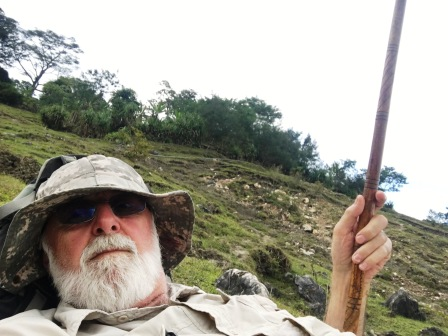 Nick with walking stick on the descent of Mundo Perdido (Nicholas Hughes, July 2018)