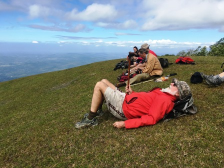 Relaxing on upper slopes below summit of Mundo Perdido (Nicholas Hughes, July 2018)