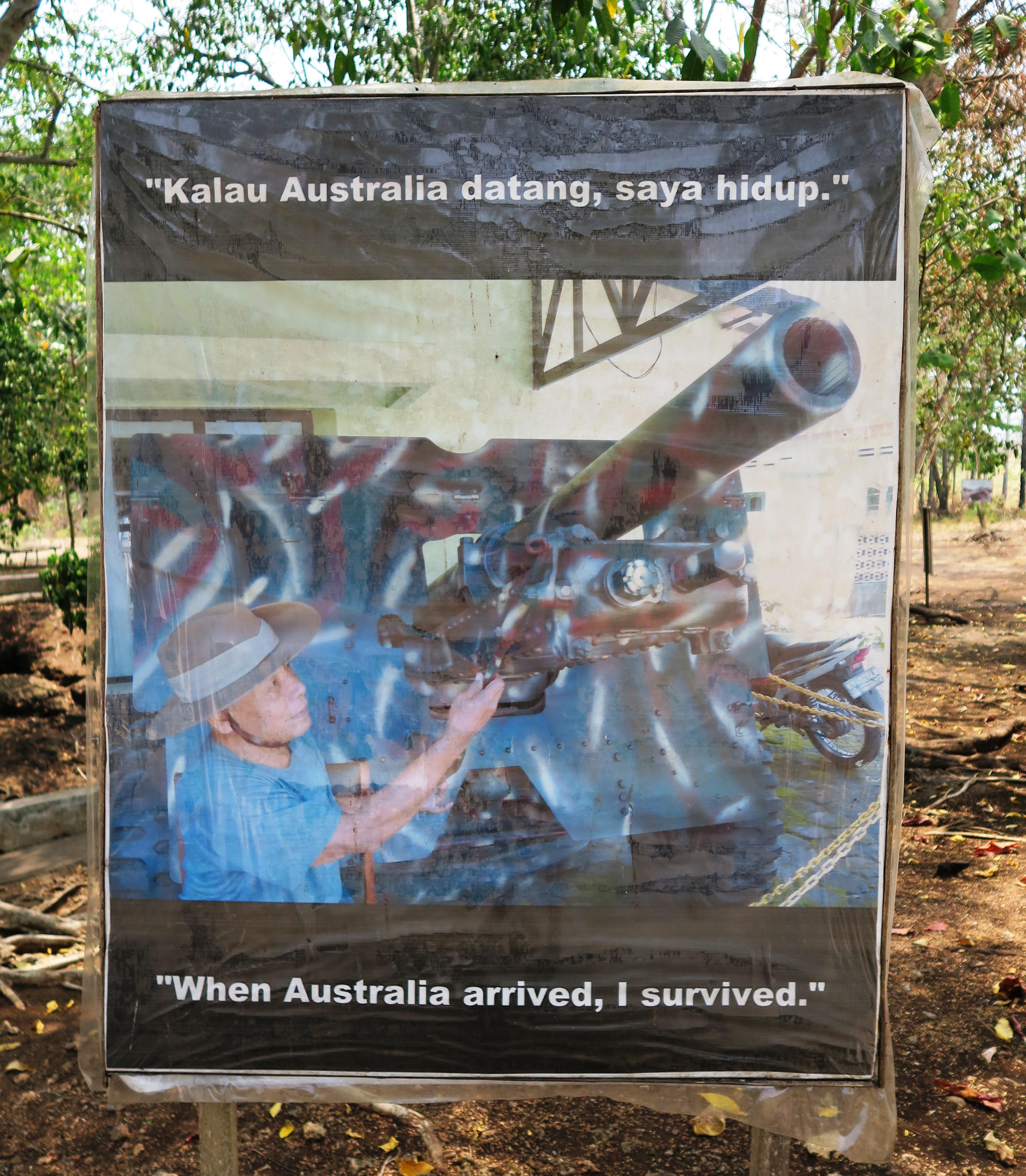 "Gunung-Sabatai-Morotai-sign-""When-Australia-arrived-I-Survived""-Nick-Hughes-October-2015"