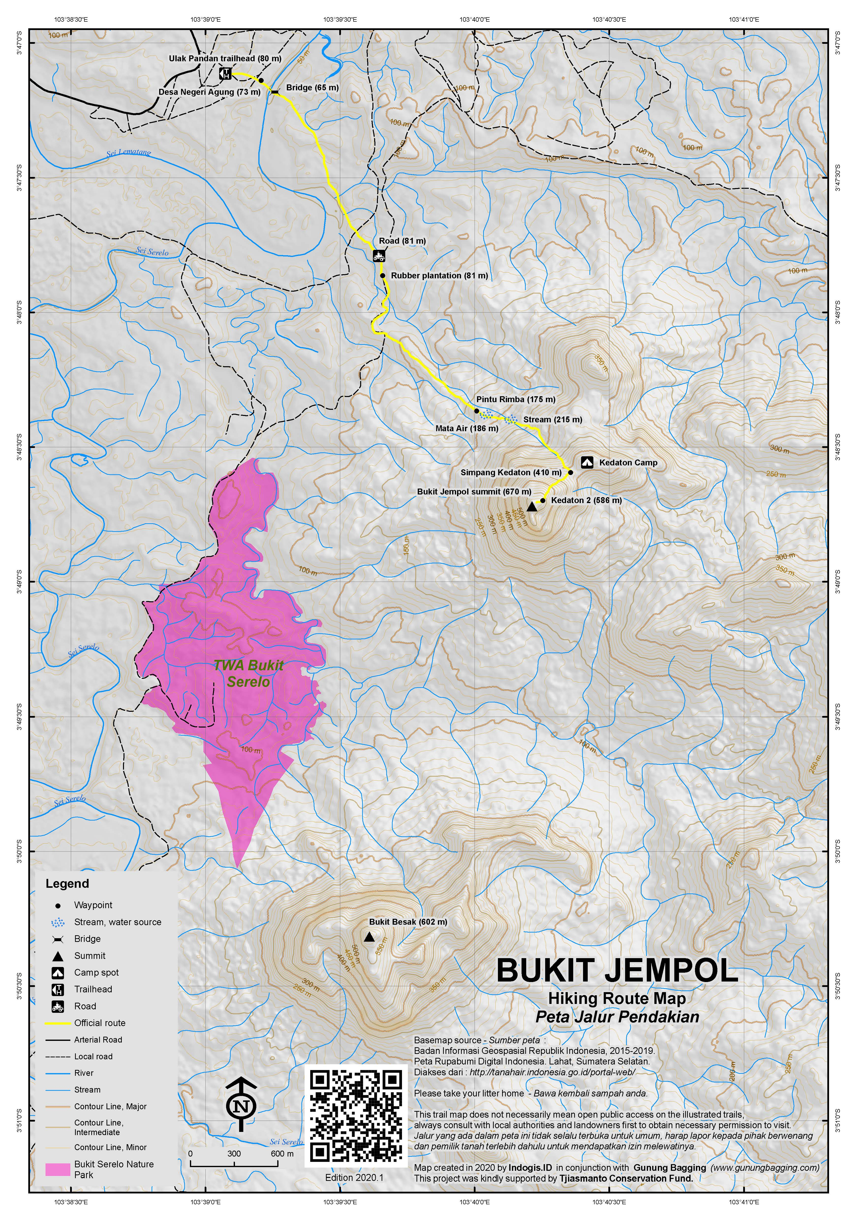 Peta Jalur Pendakian Bukit Jempol