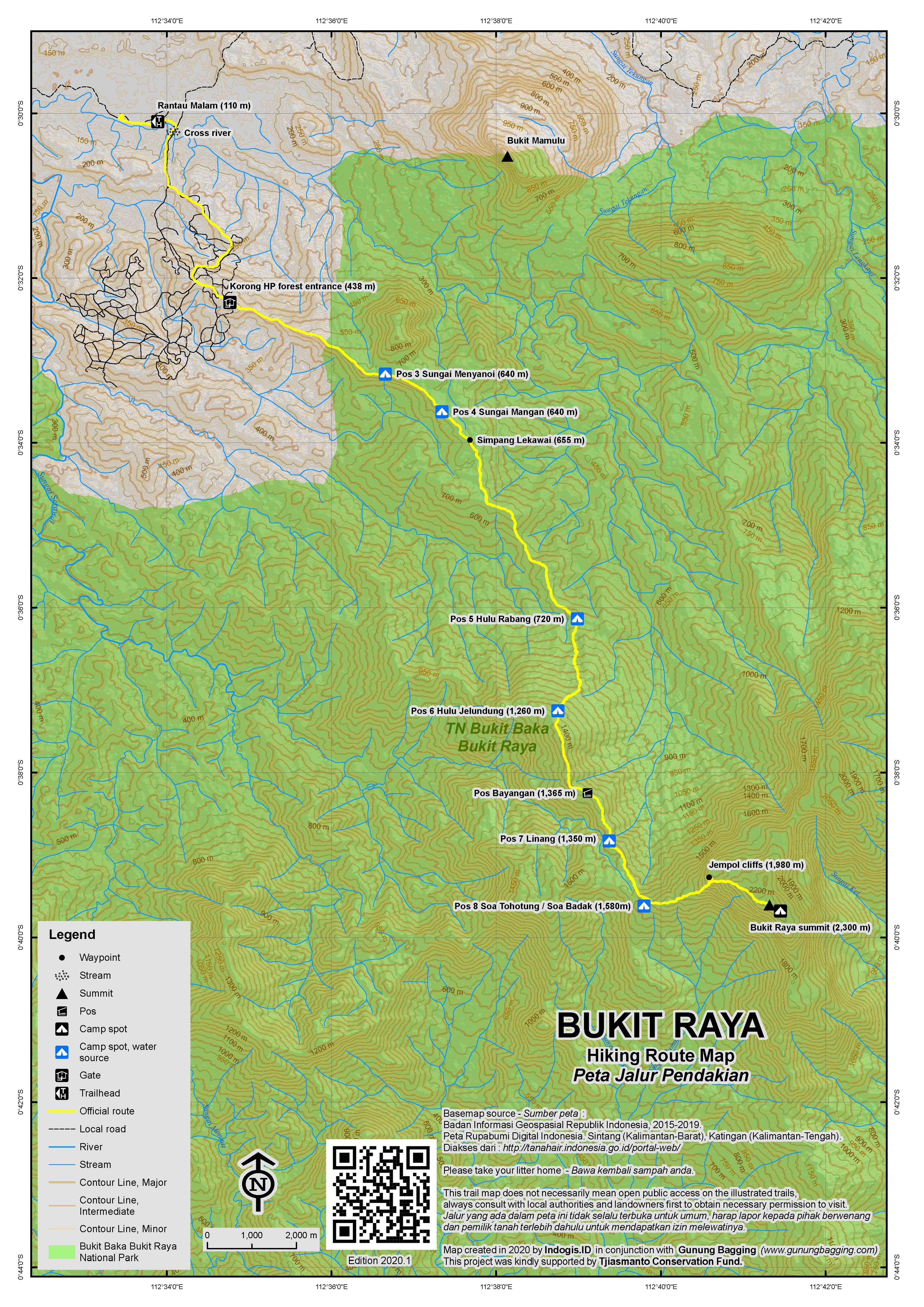 Peta Jalur Pendakian Bukit Raya