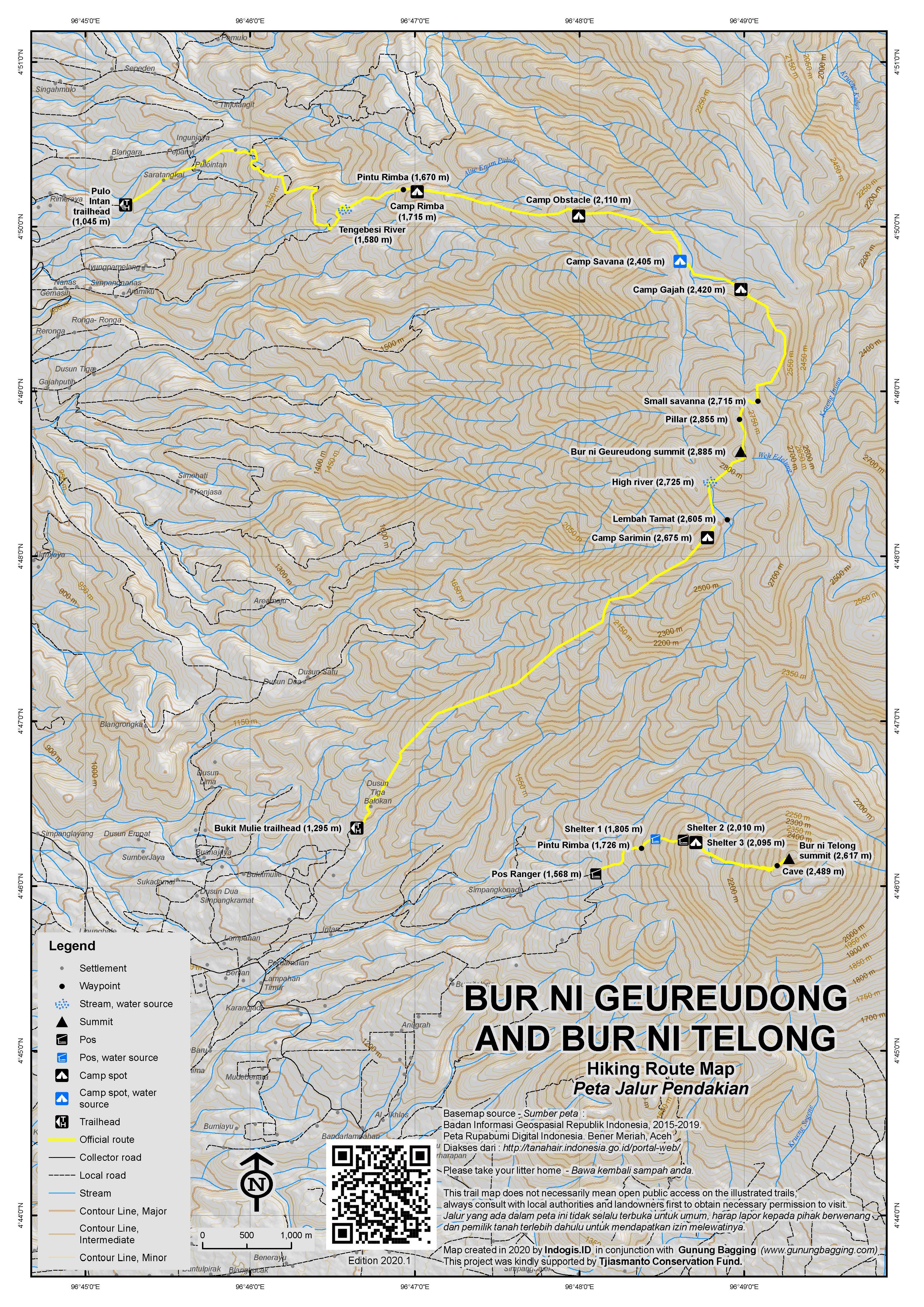 Peta Jalur Pendakian Bur ni Geureudong