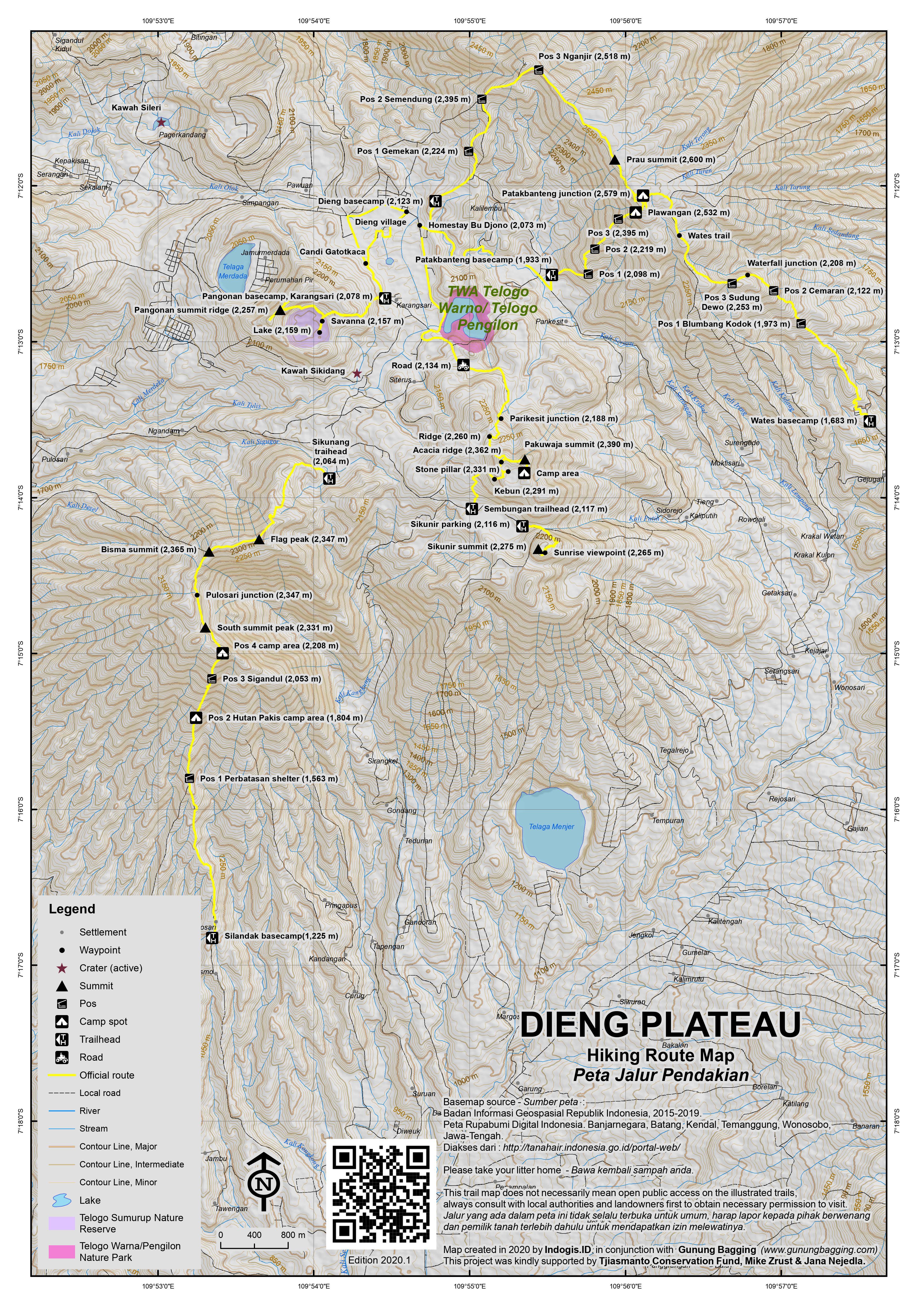 Peta Jalur Pendakian Dieng Plateau