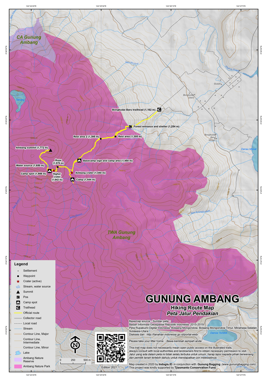 Peta Jalur Pendakian Gunung Ambang