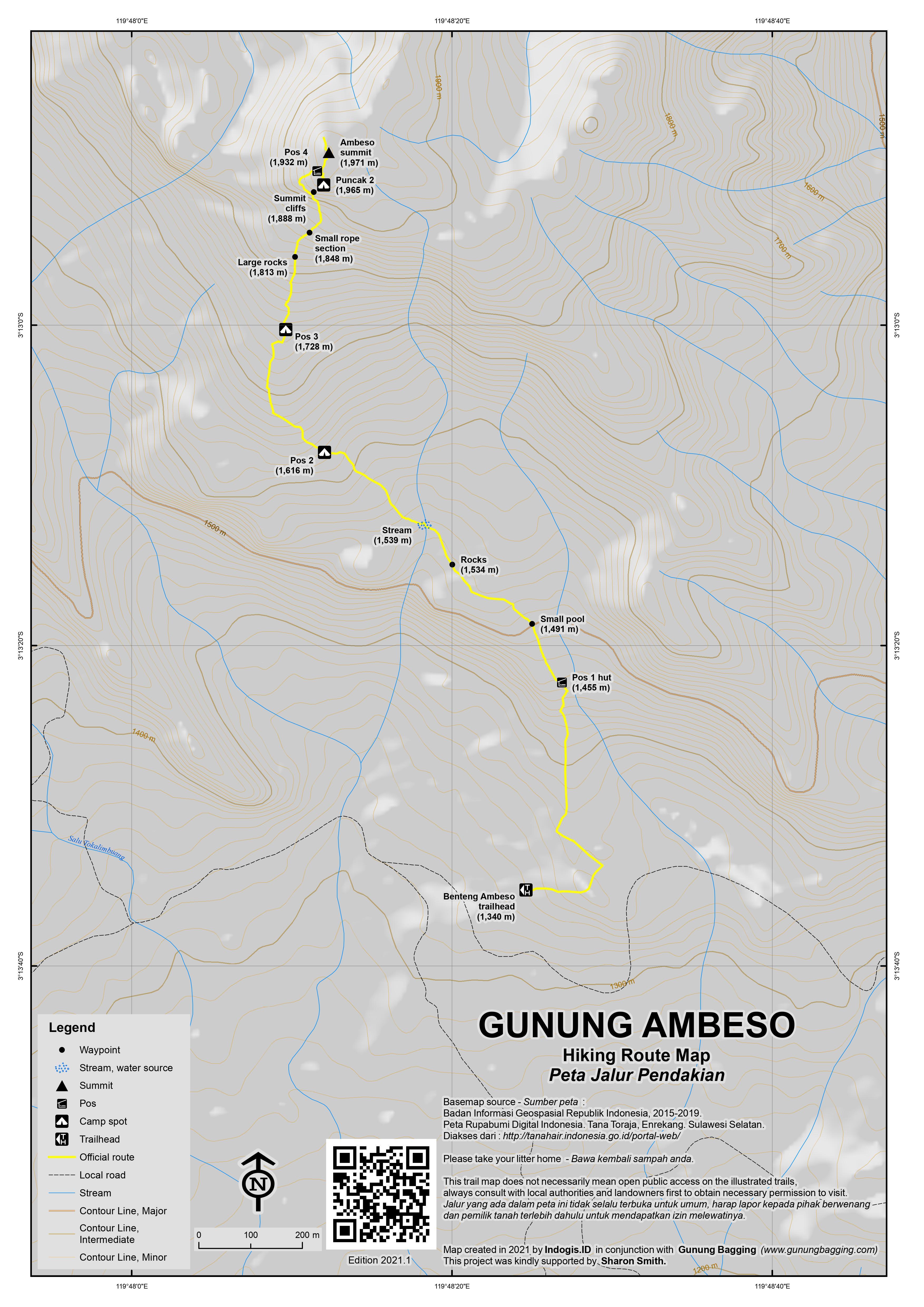 Peta Jalur Pendakian Gunung Ambeso