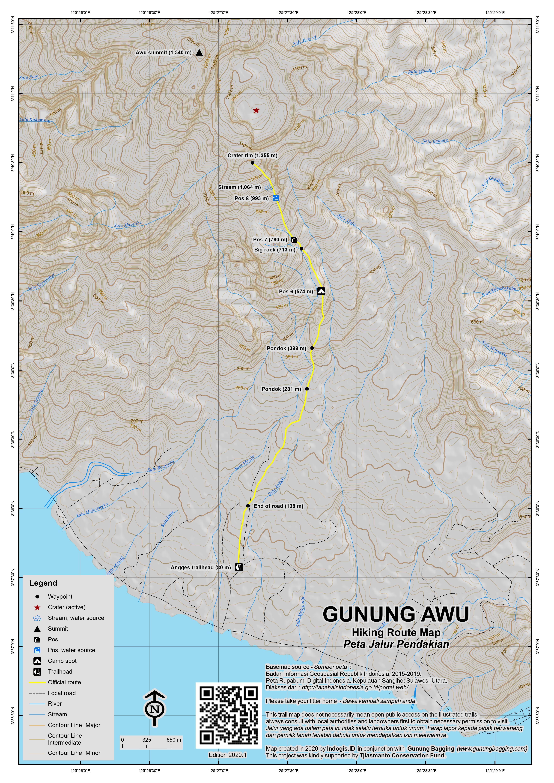 Peta Jalur Pendakian Gunung Awu