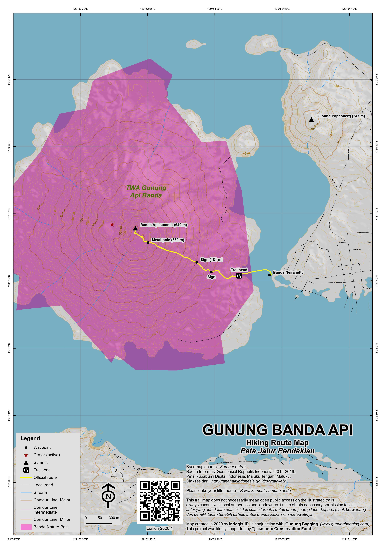 Peta Jalur Pendakian Gunung Banda Api