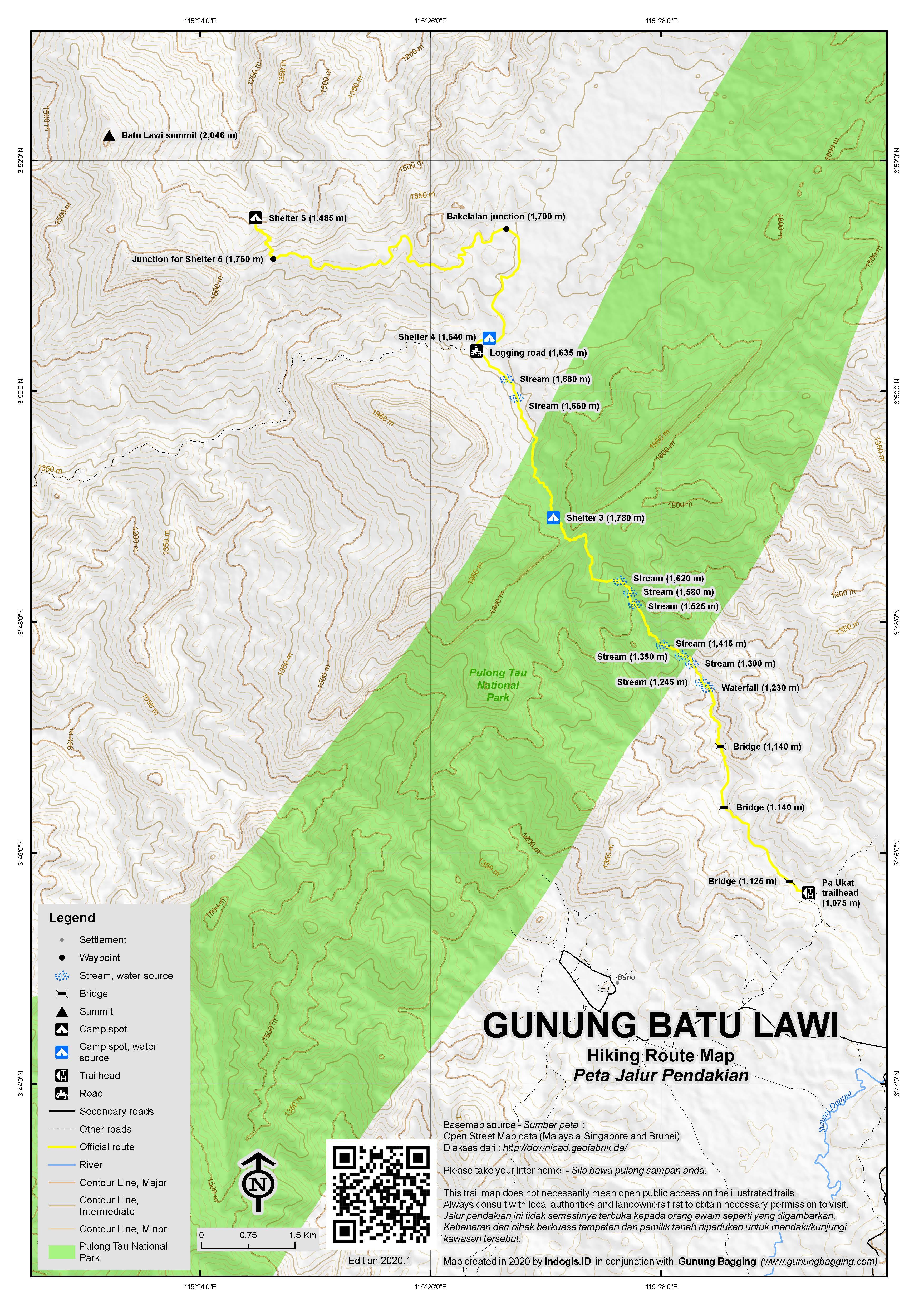 Peta Jalur Pendakian Gunung Batu Lawi