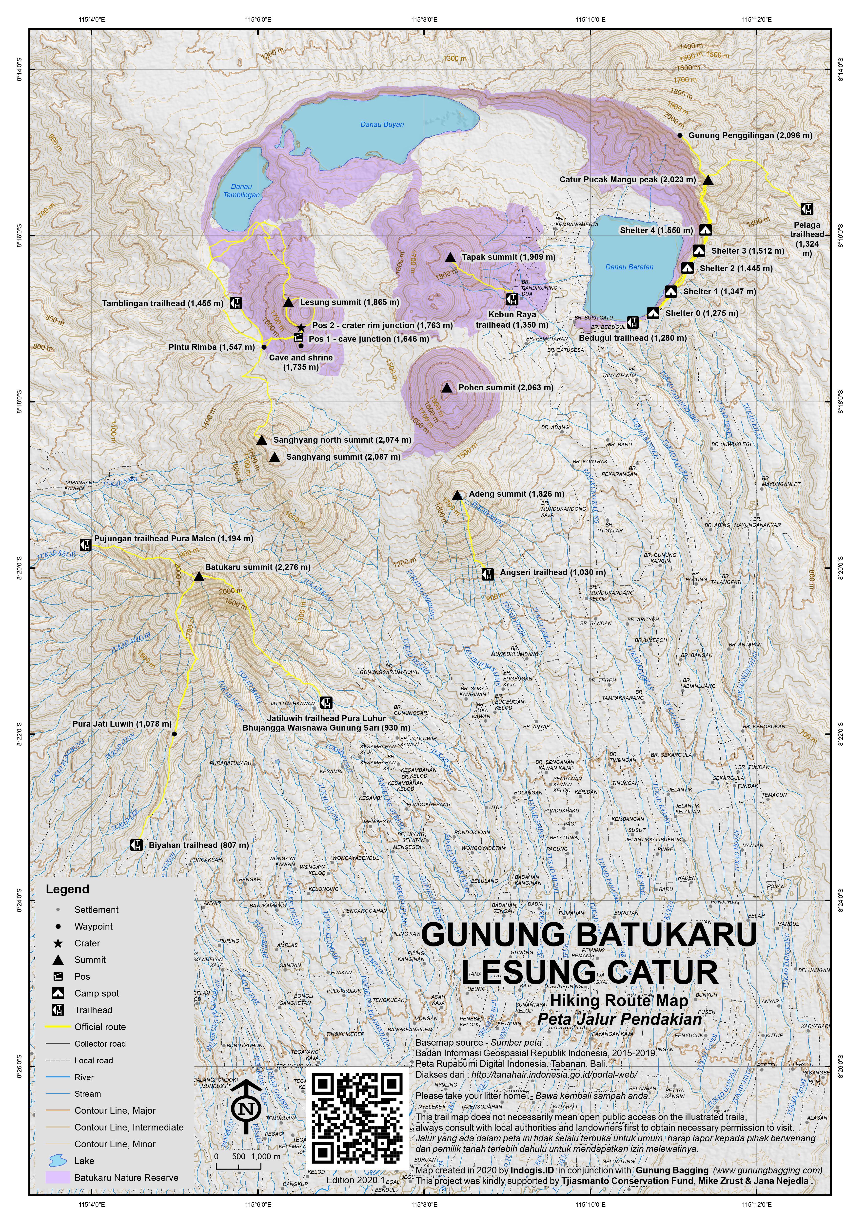 Peta Jalur Pendakian Gunung Batukaru, Lesung and Catur