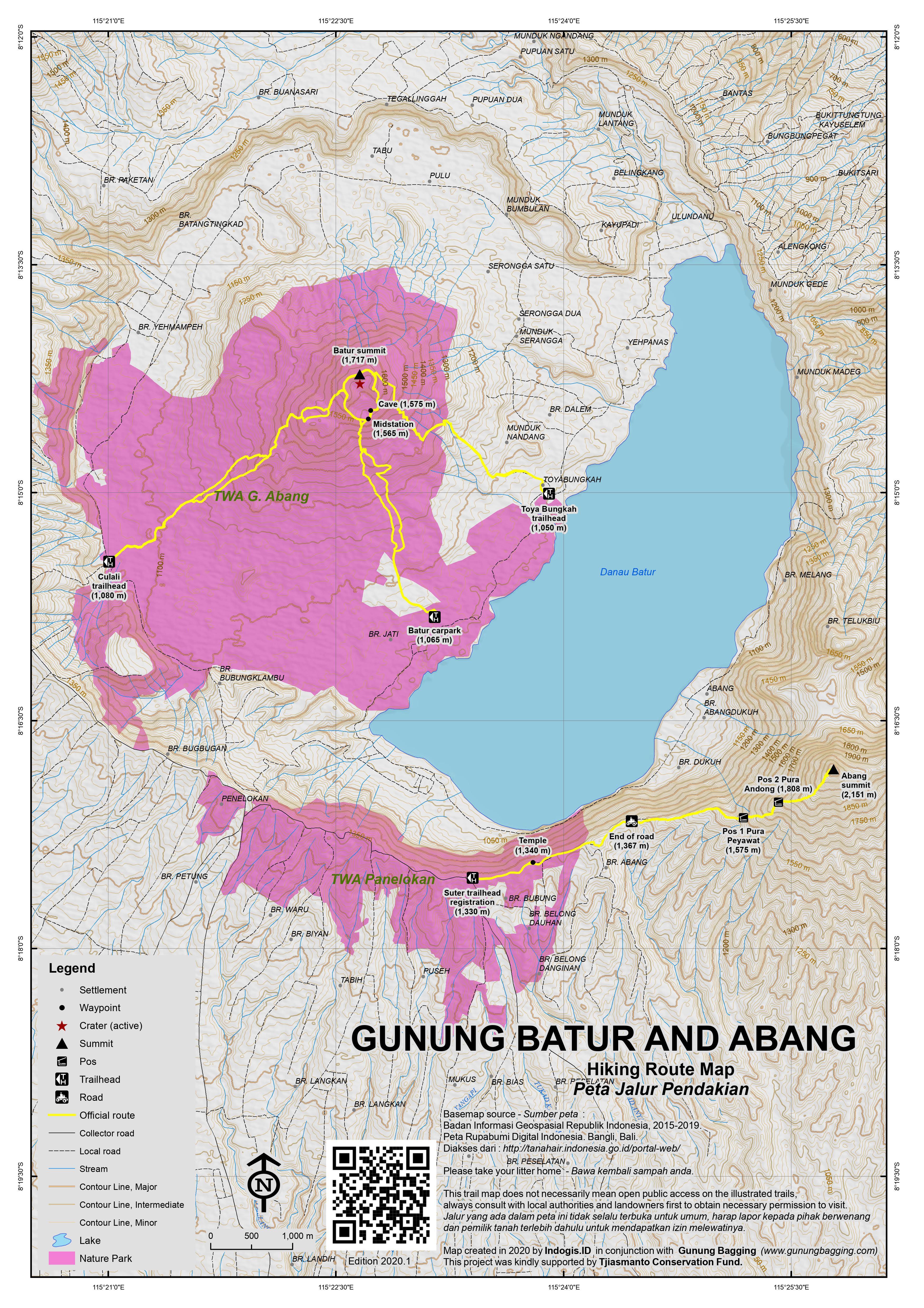 Peta Jalur Pendakian Gunung Batur and Abang