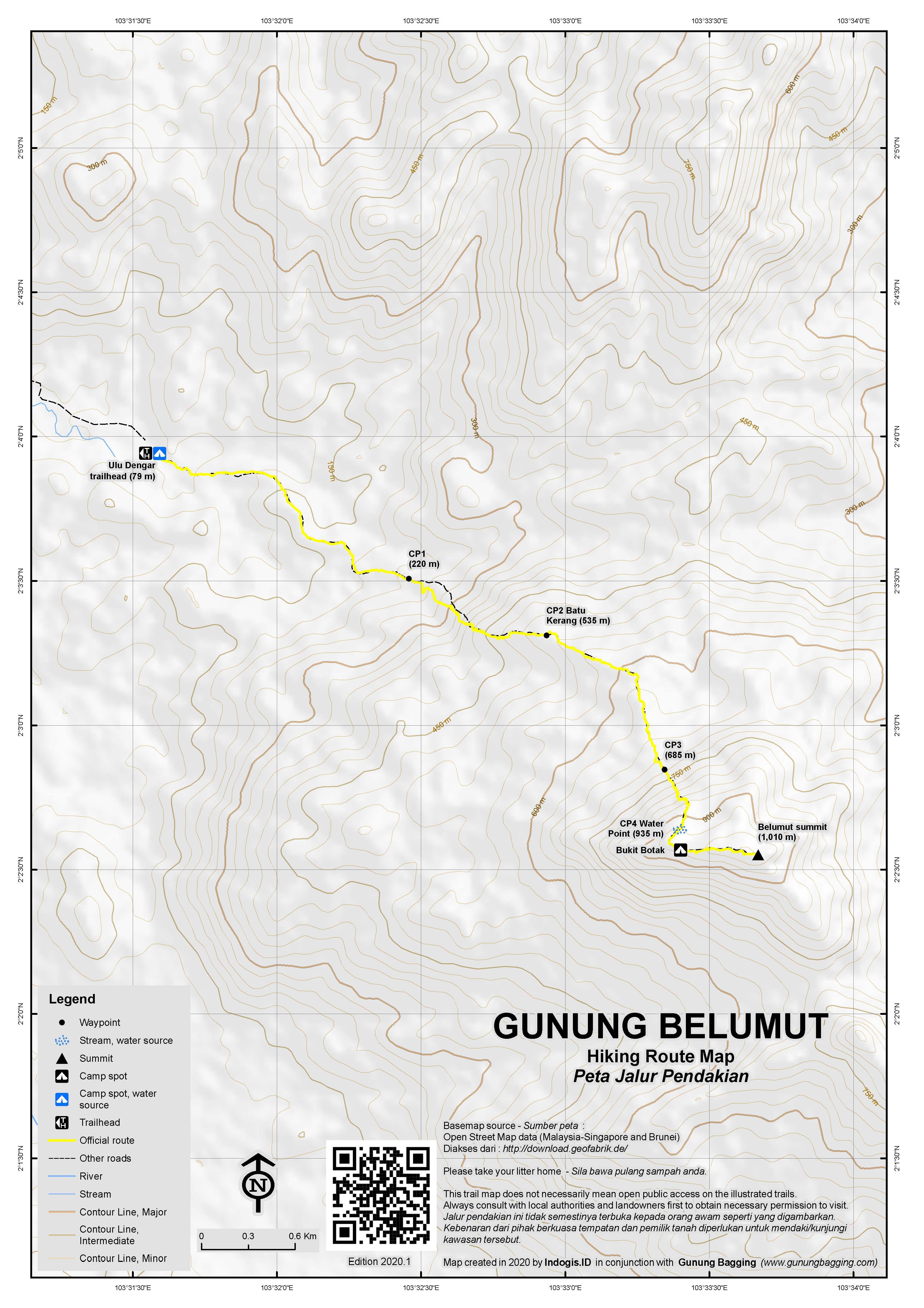 Peta Jalur Pendakian Gunung Belumut