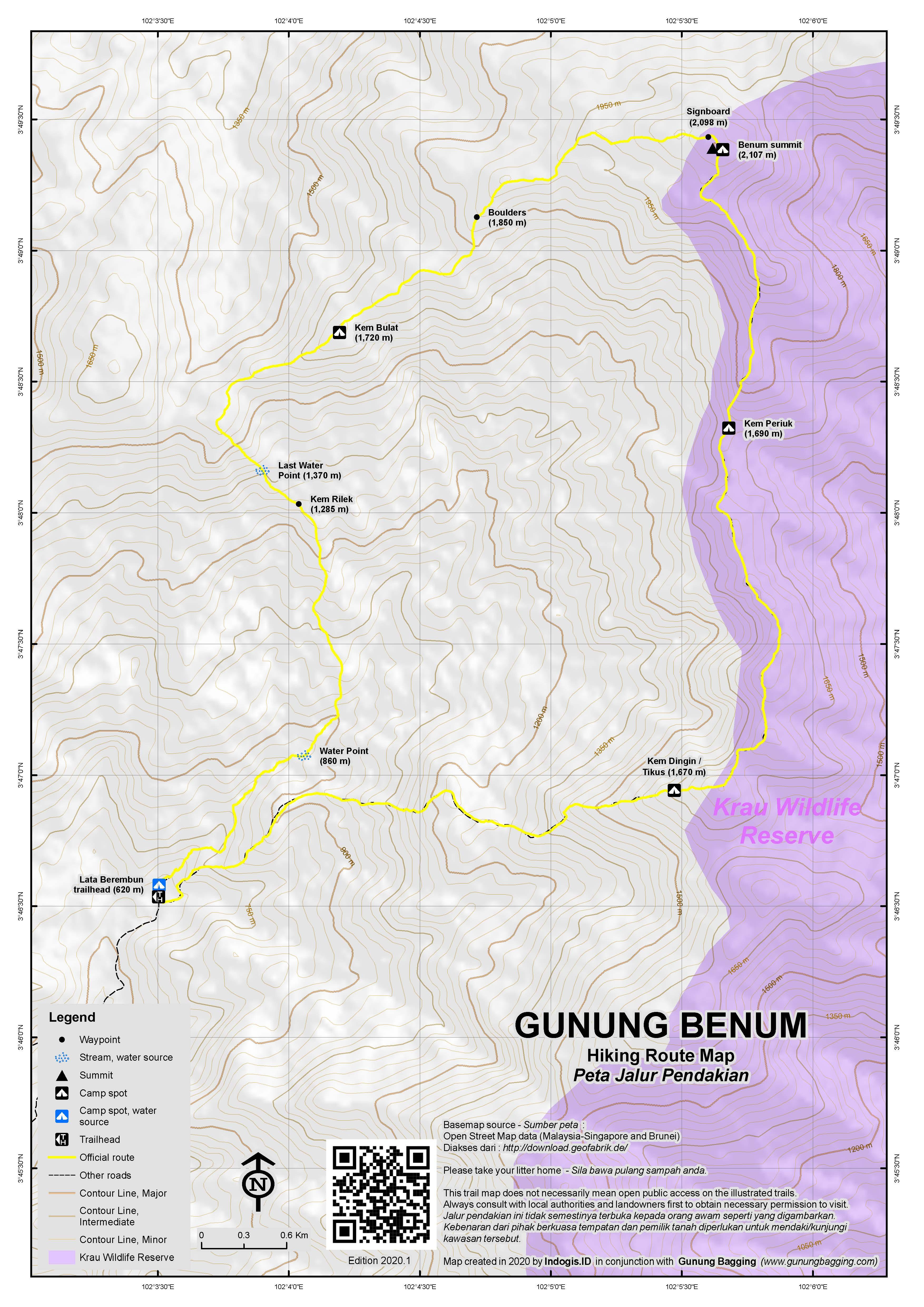 Peta Jalur Pendakian Gunung Benum
