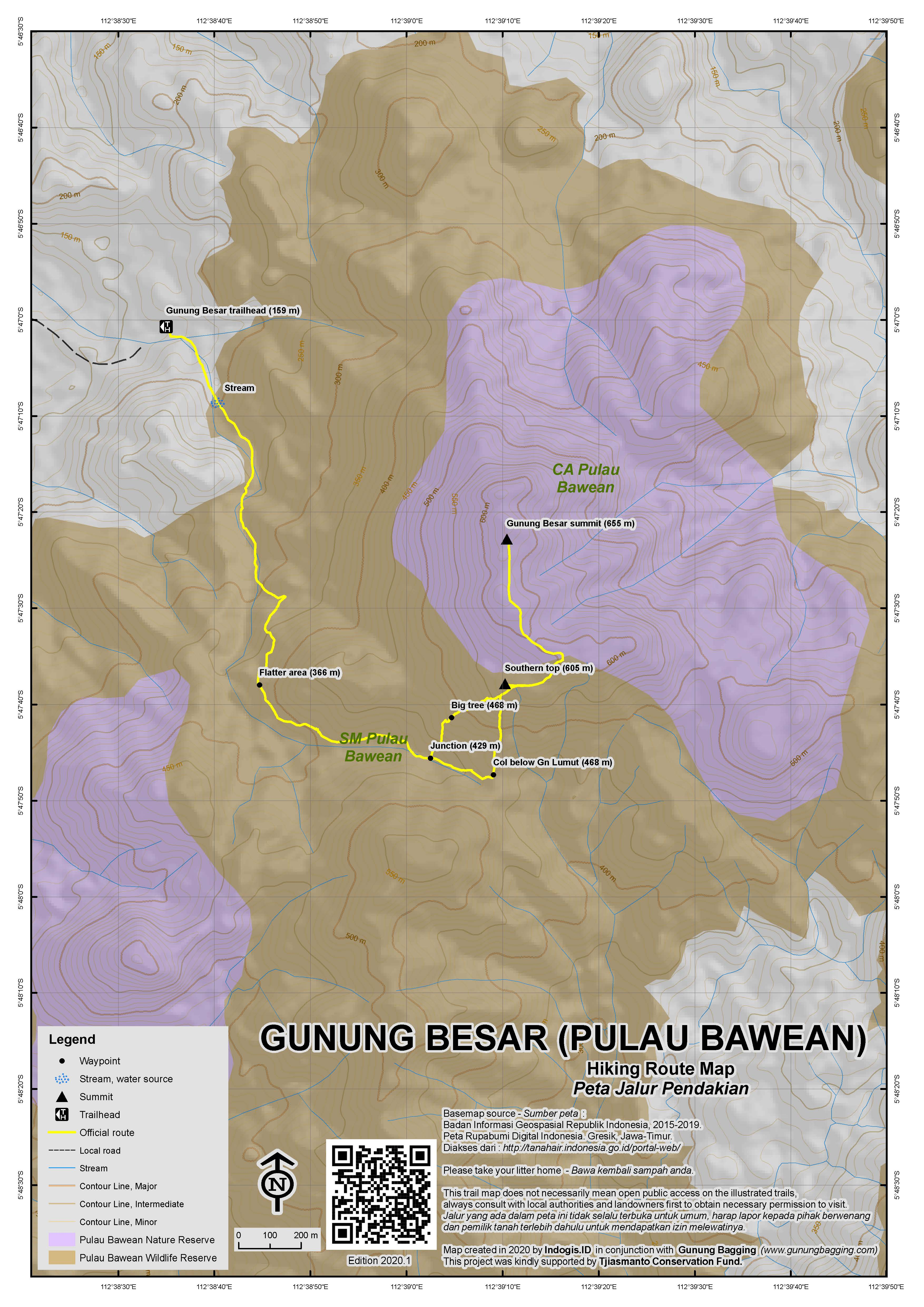 Peta Jalur Pendakian Gunung Besar (Pulau Bawean)