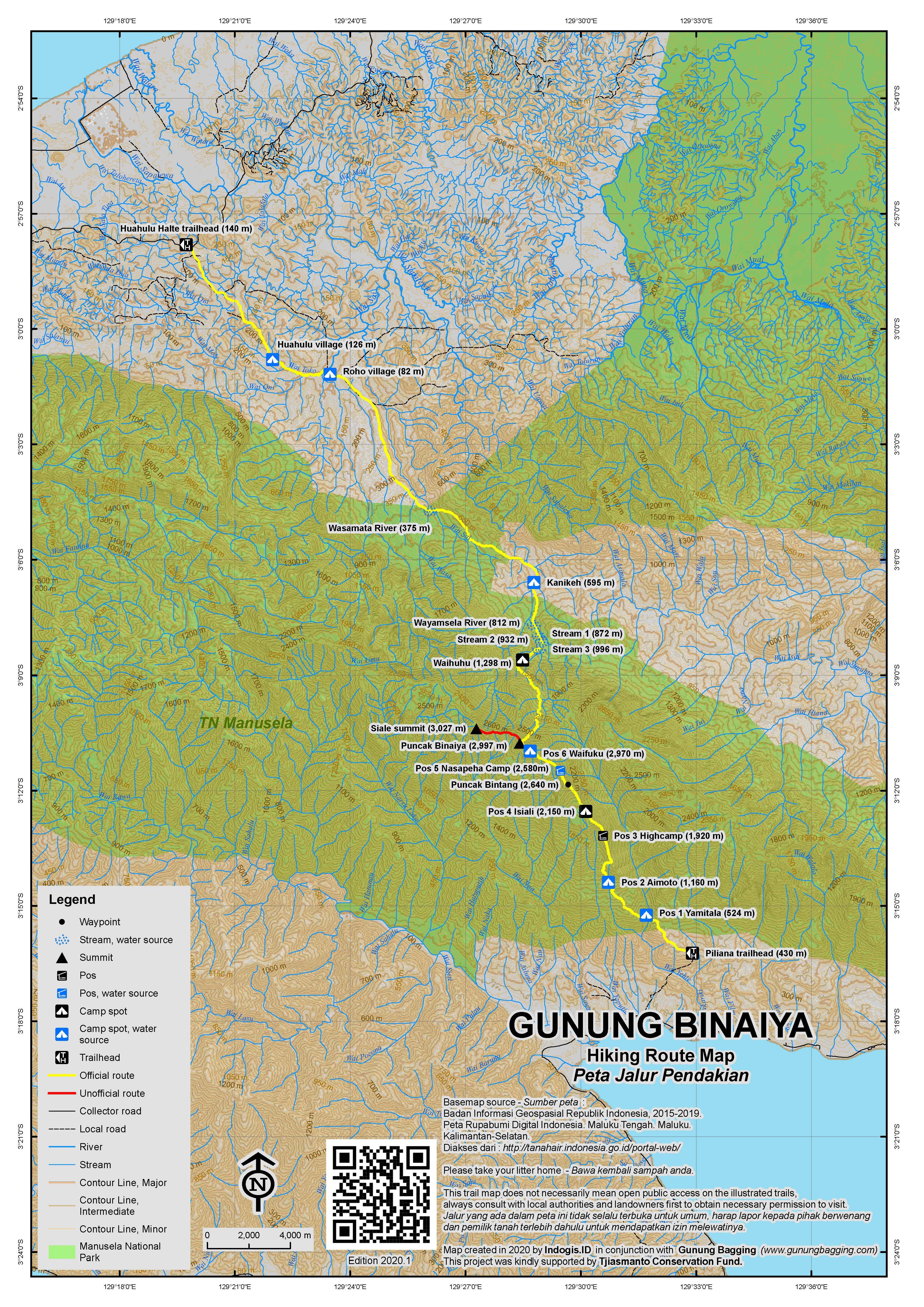 Peta Jalur Pendakian Gunung Binaiya