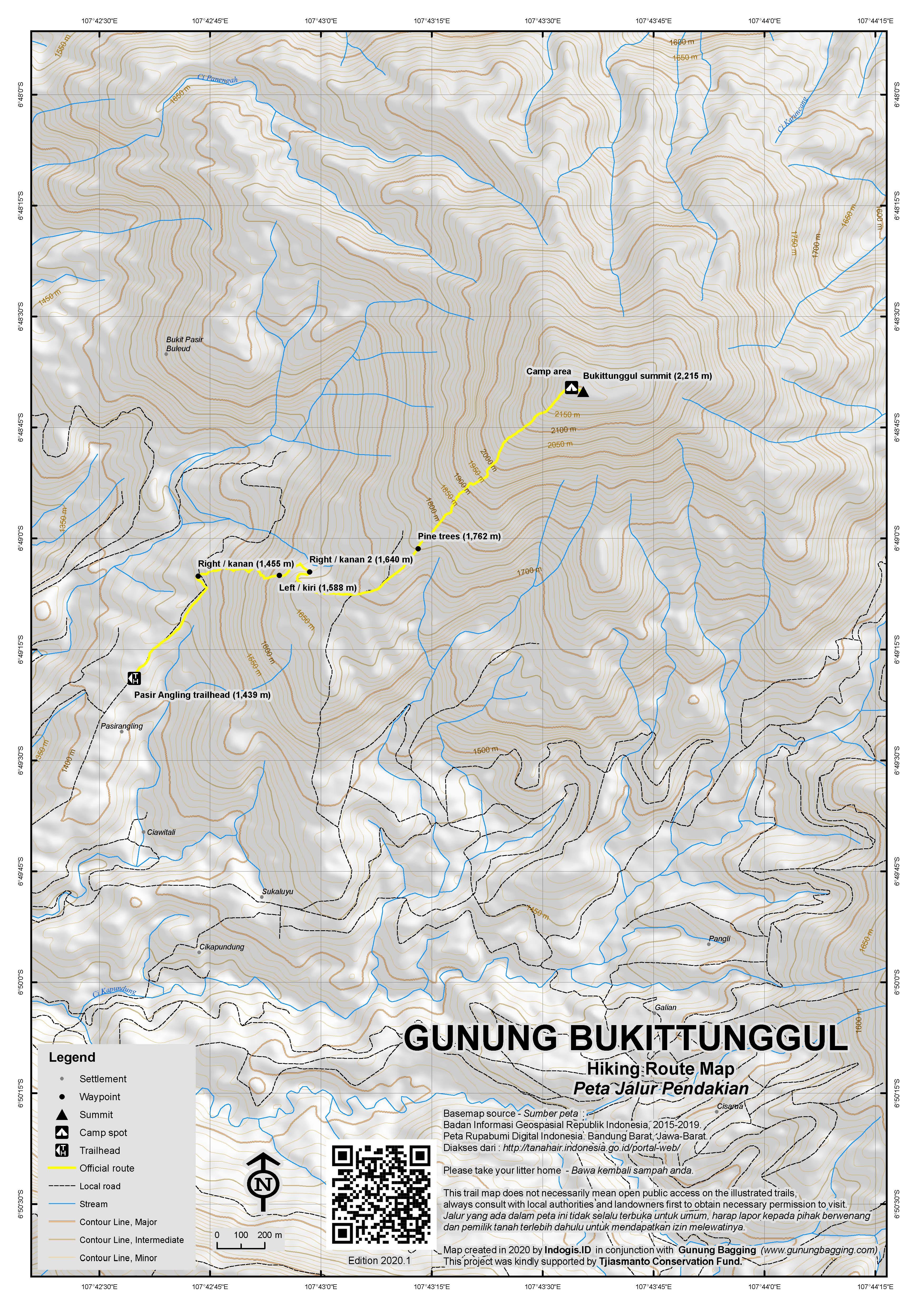 Peta Jalur Pendakian Gunung Bukittunggul
