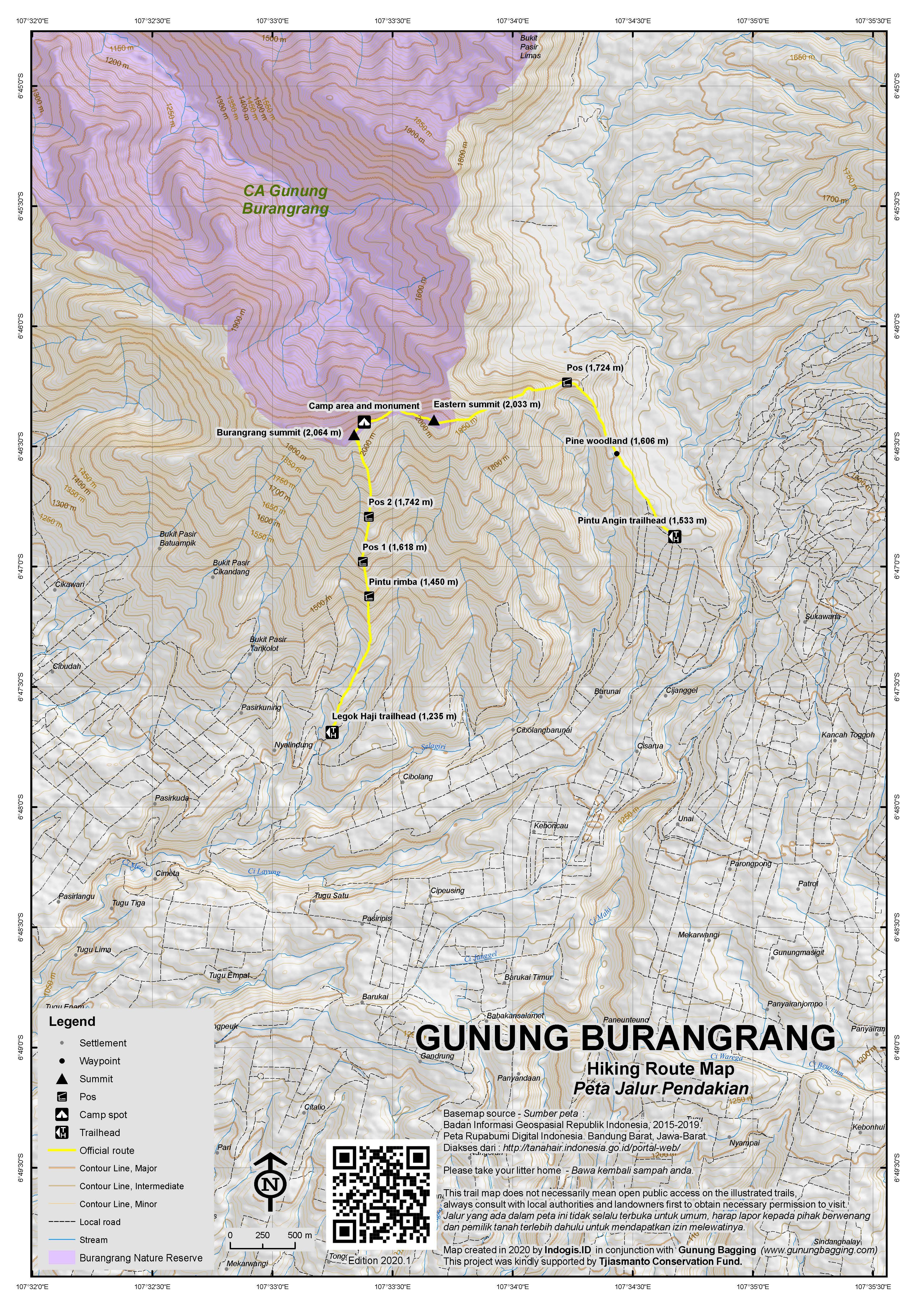 Peta Jalur Pendakian Gunung Burangrang