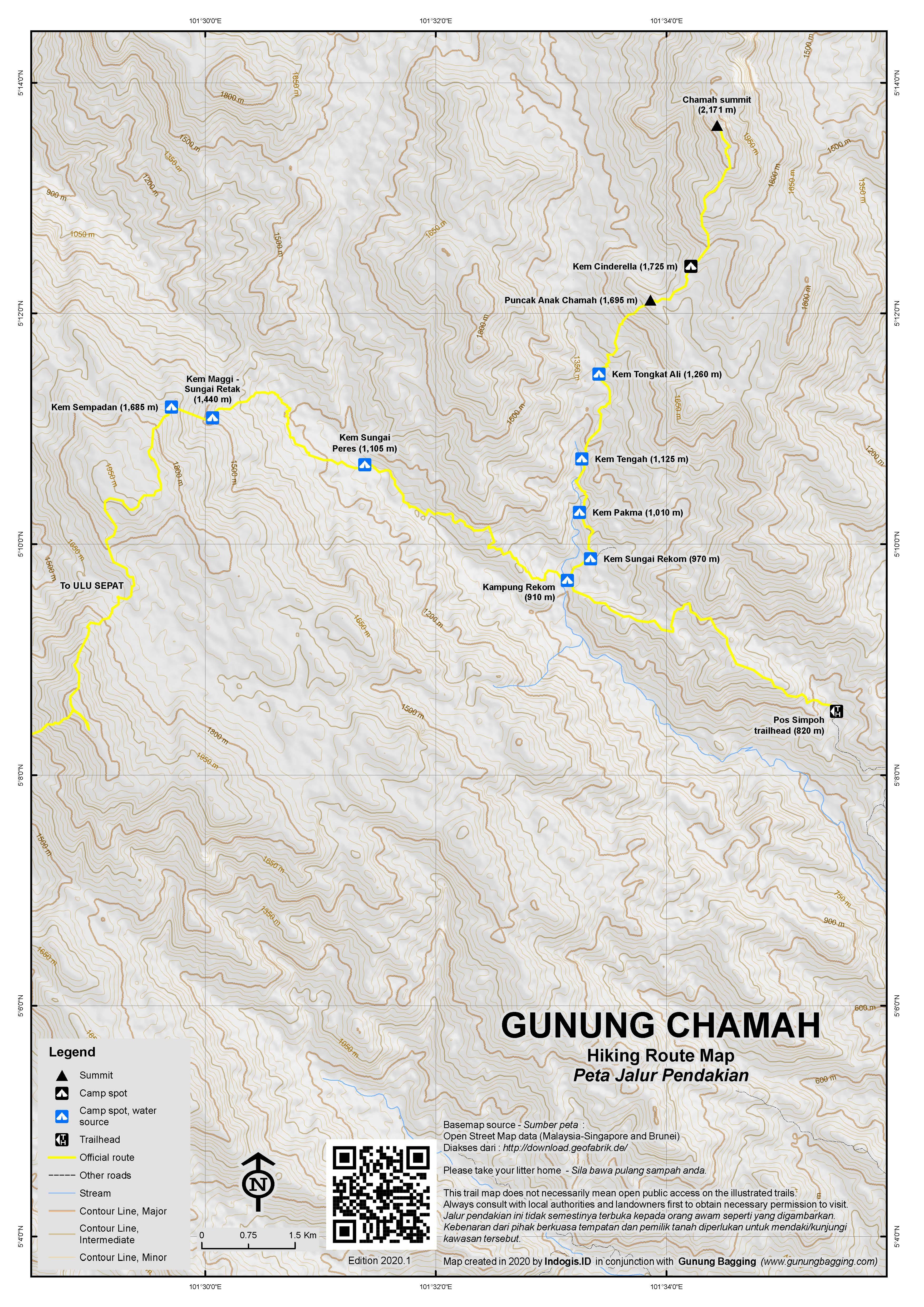 Peta Jalur Pendakian Gunung Chamah