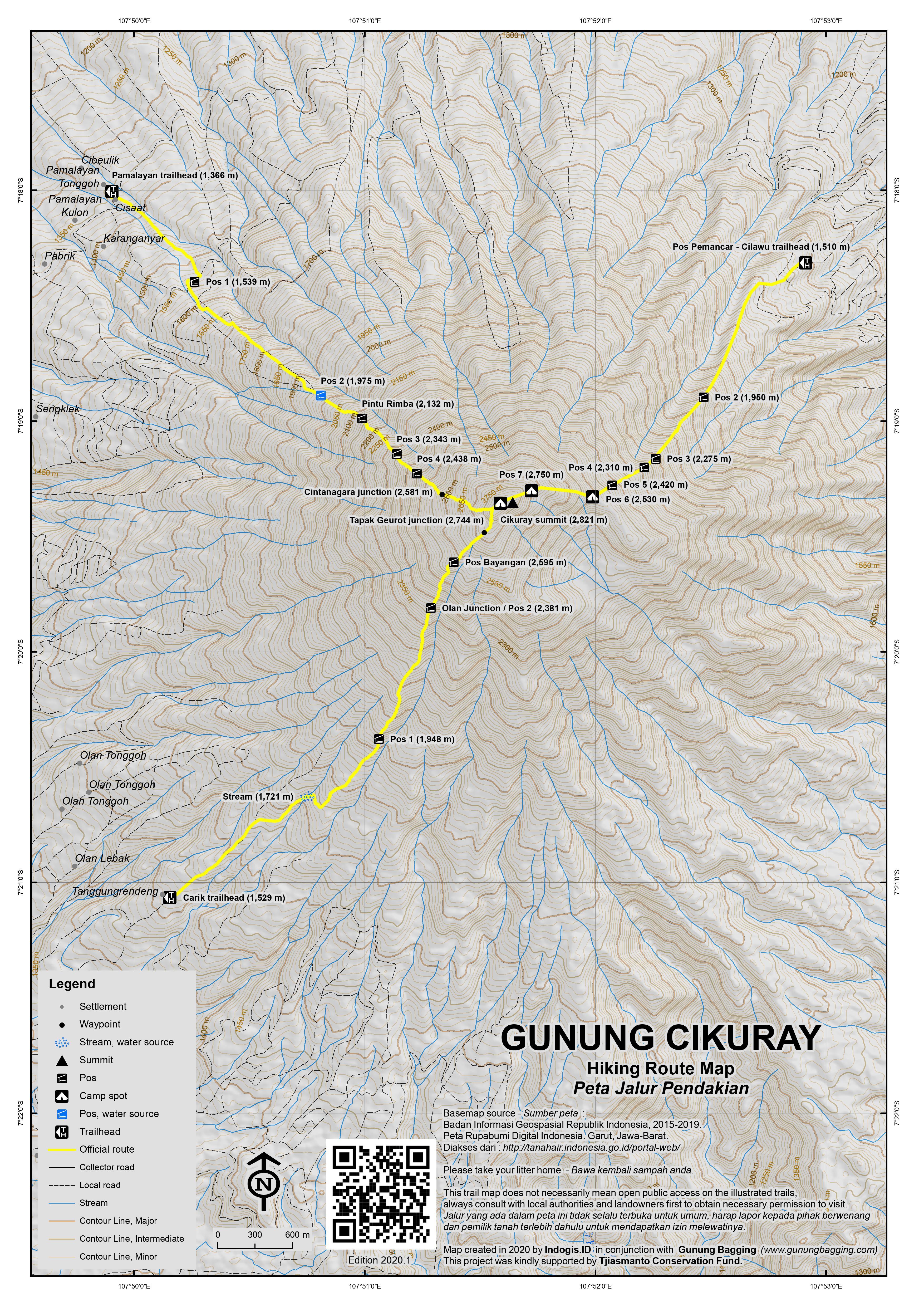Peta Jalur Pendakian Gunung Cikuray