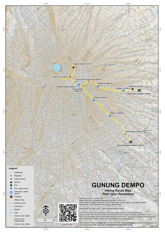 Peta Jalur Pendakian Gunung Dempo