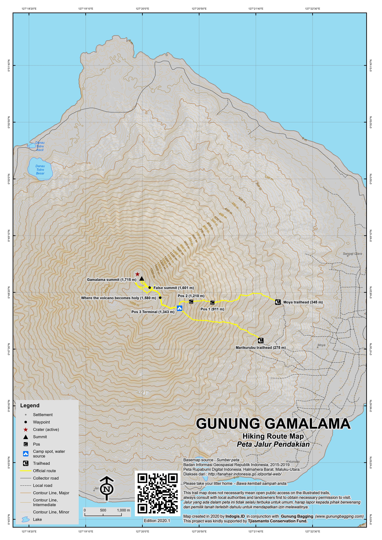 Peta Jalur Pendakian Gunung Gamalama