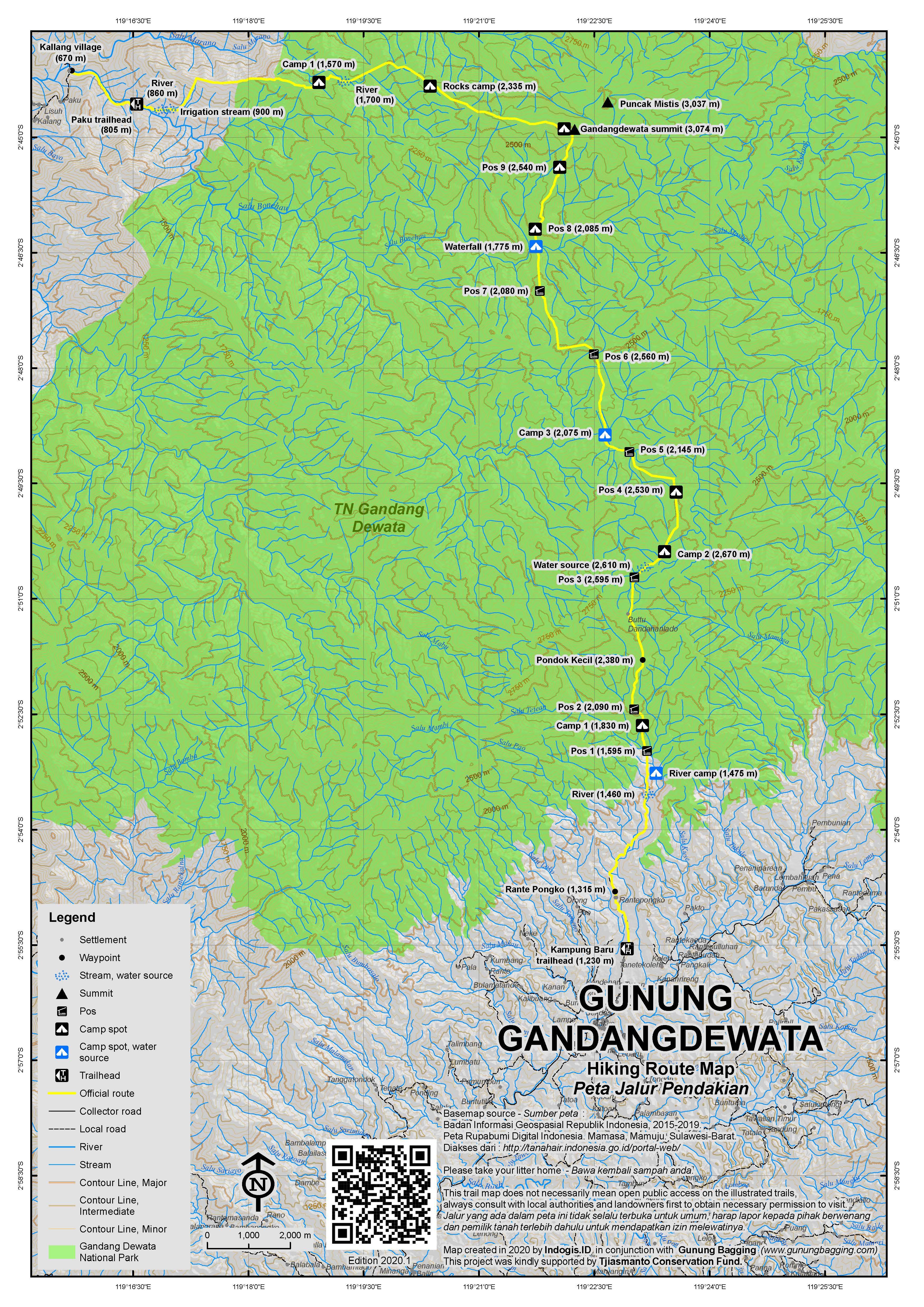 Peta Jalur Pendakian Gunung Gandangdewata