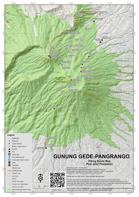 Peta Jalur Pendakian Gunung Gede-Pangrango
