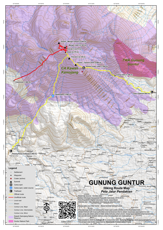 Peta Jalur Pendakian Gunung Guntur