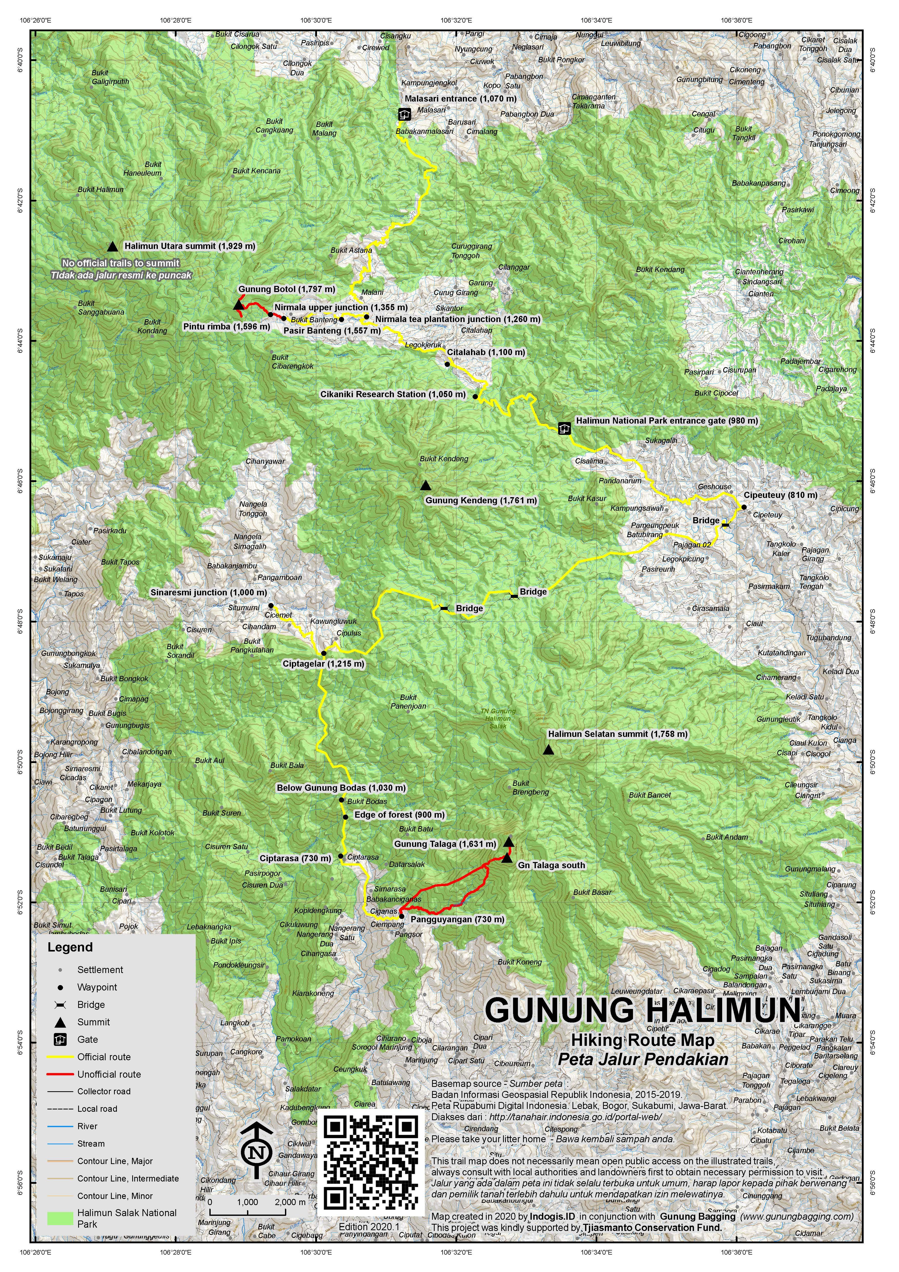 Peta Jalur Pendakian Gunung Halimun