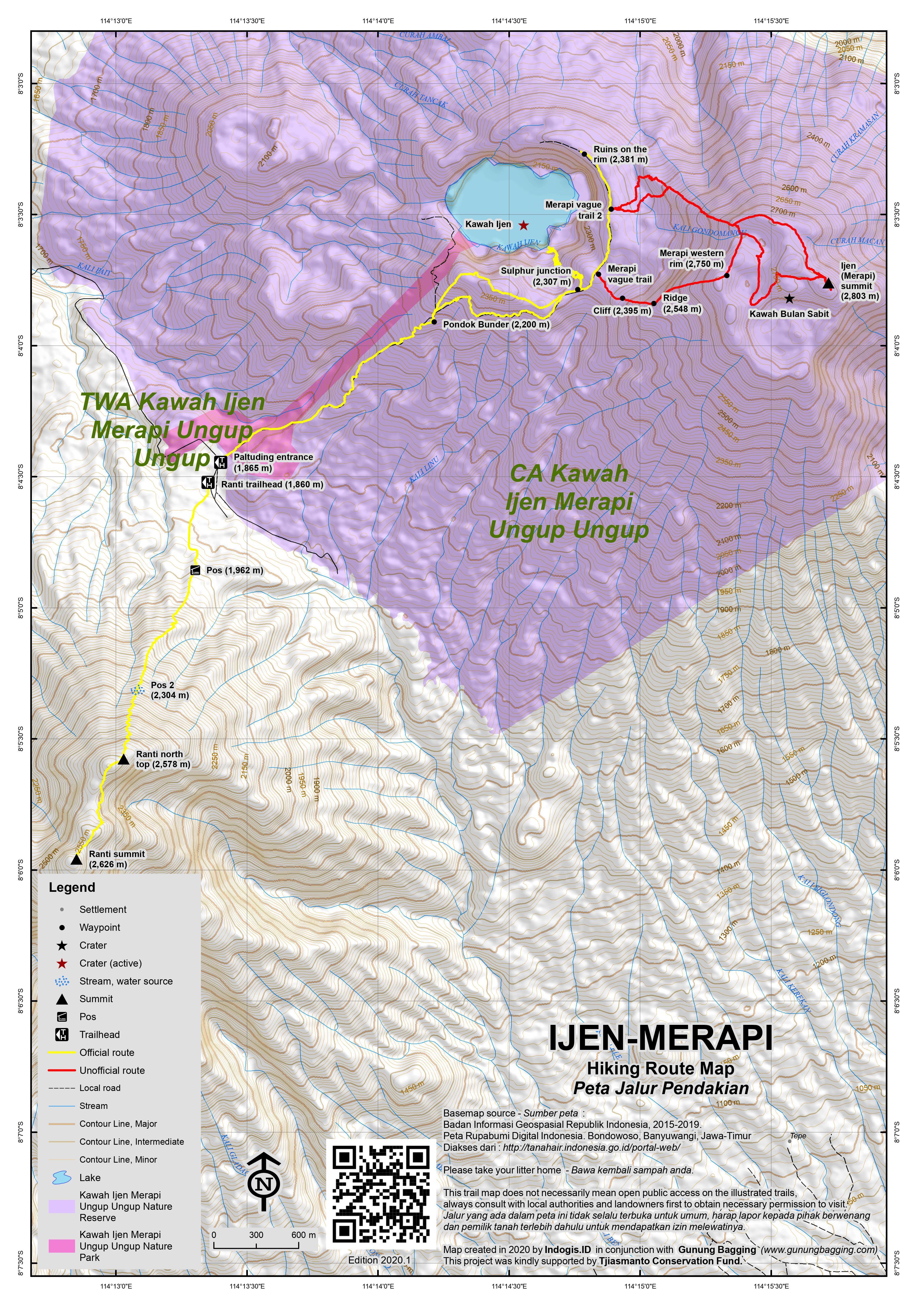 Peta Jalur Pendakian Gunung Ijen