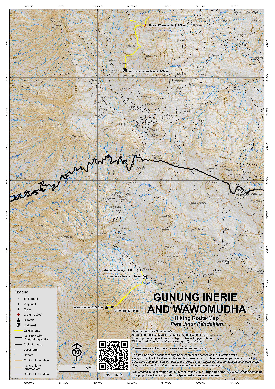 Peta Jalur Pendakian Gunung Inerie