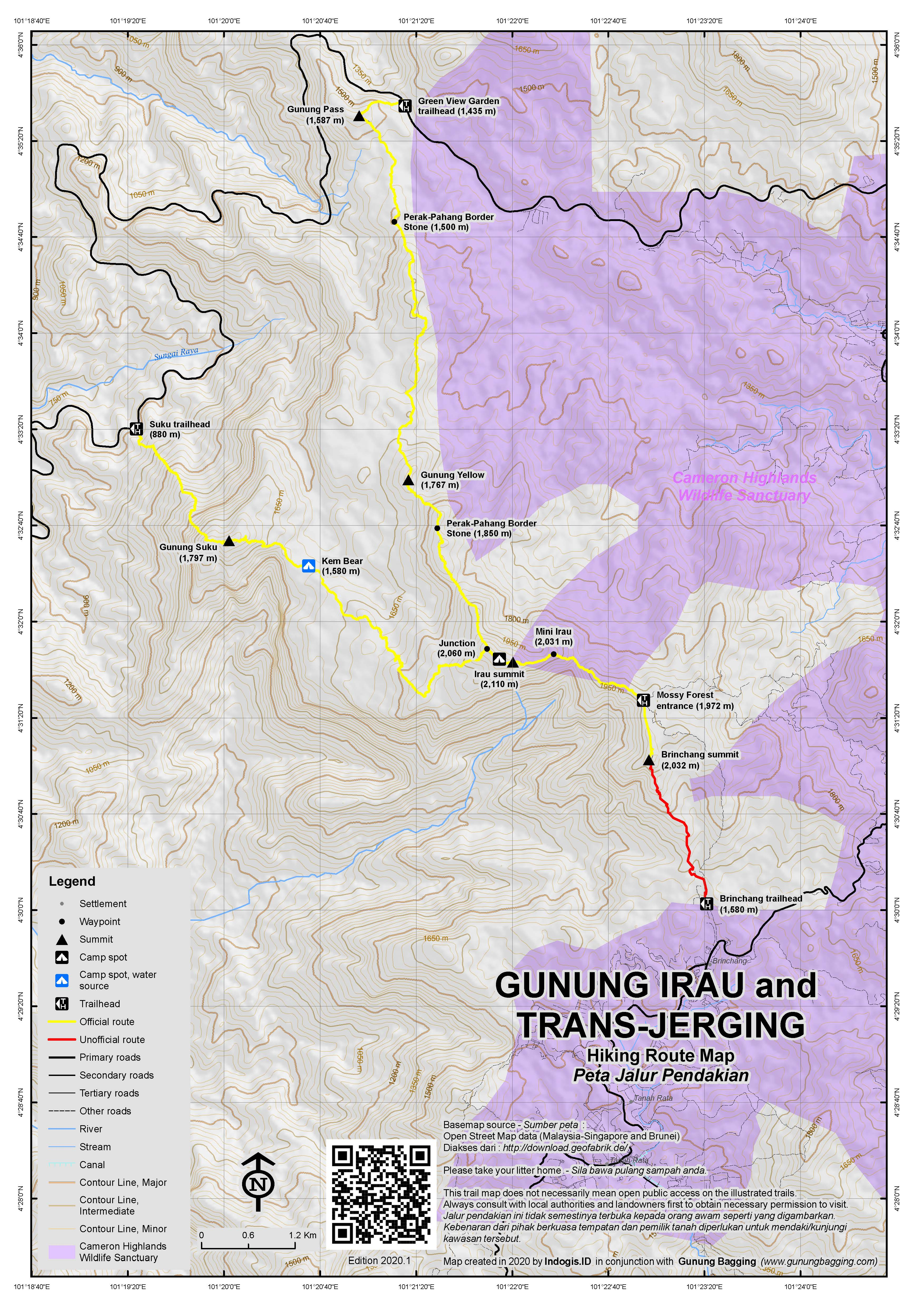Peta Jalur Pendakian Gunung Irau