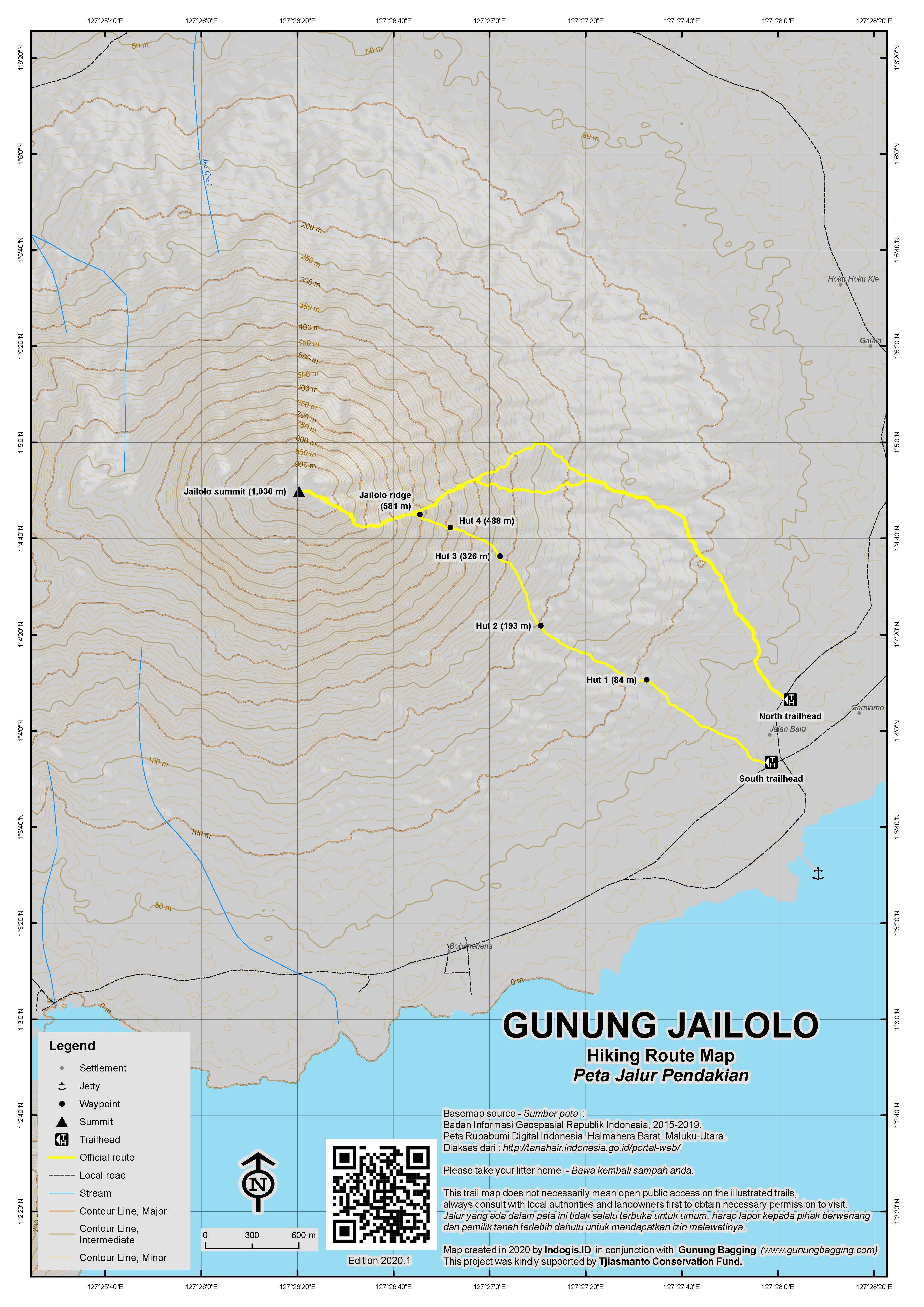 Peta Jalur Pendakian Gunung Jailolo
