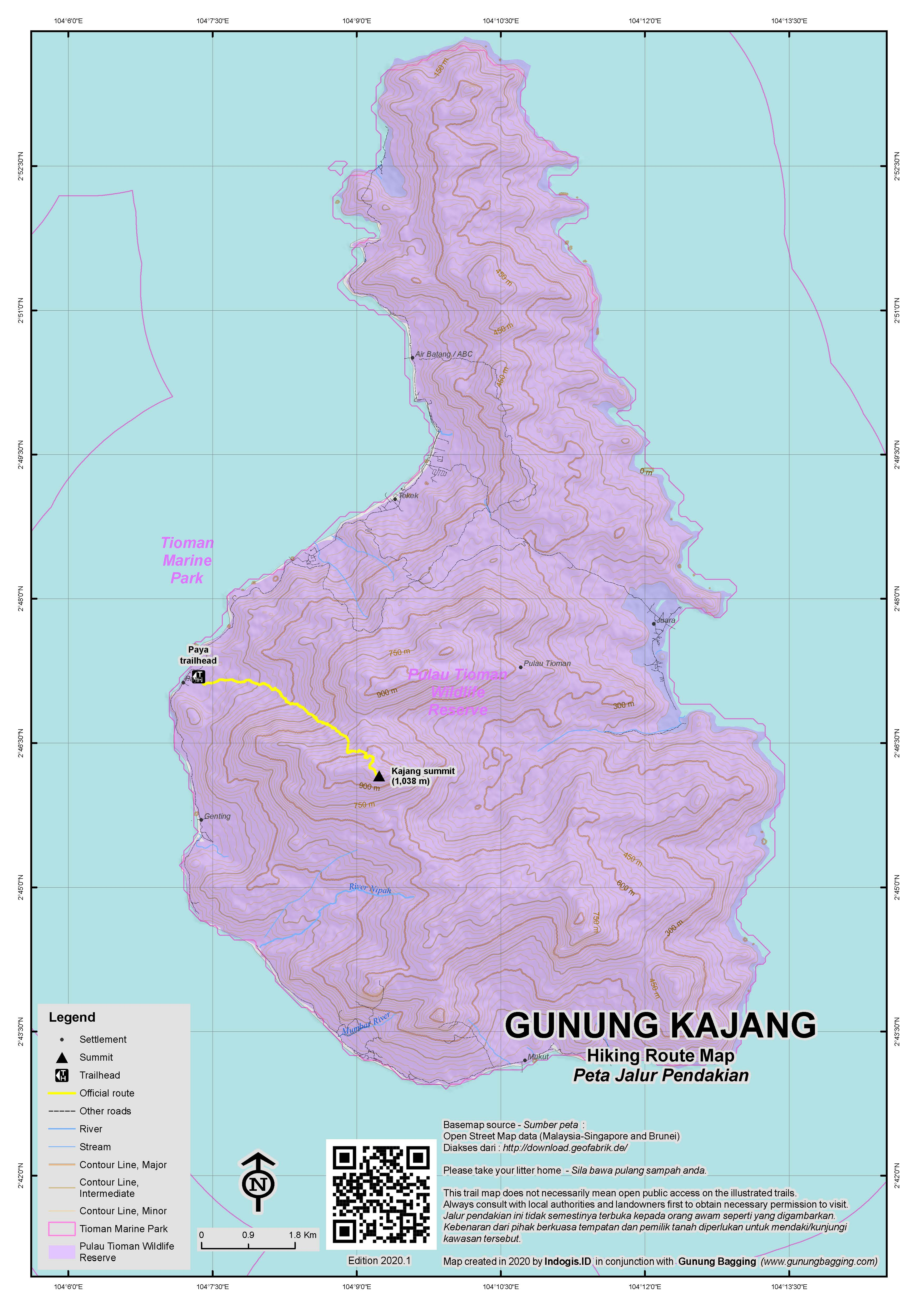 Peta Jalur Pendakian Gunung Kajang