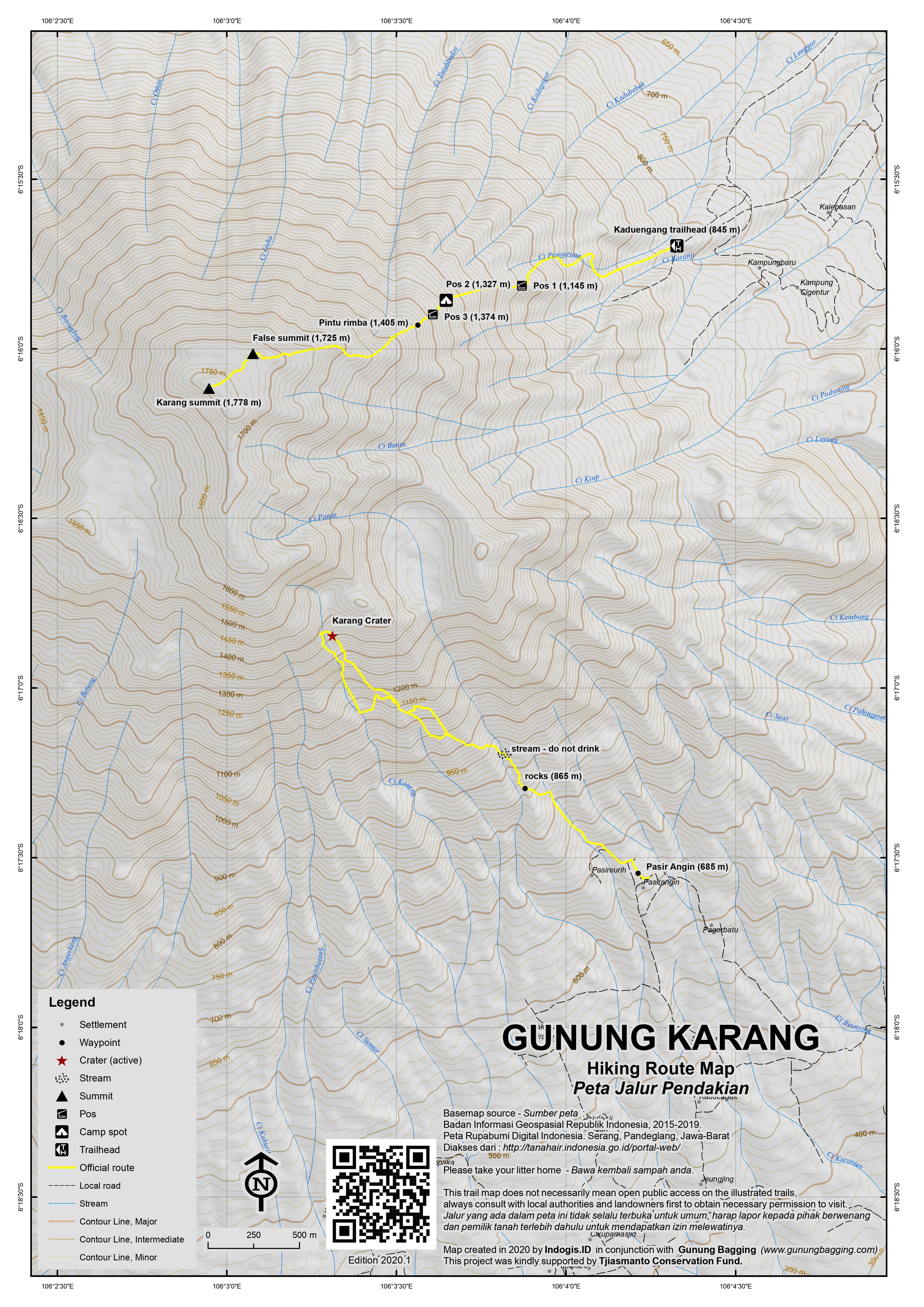Peta Jalur Pendakian Gunung Karang