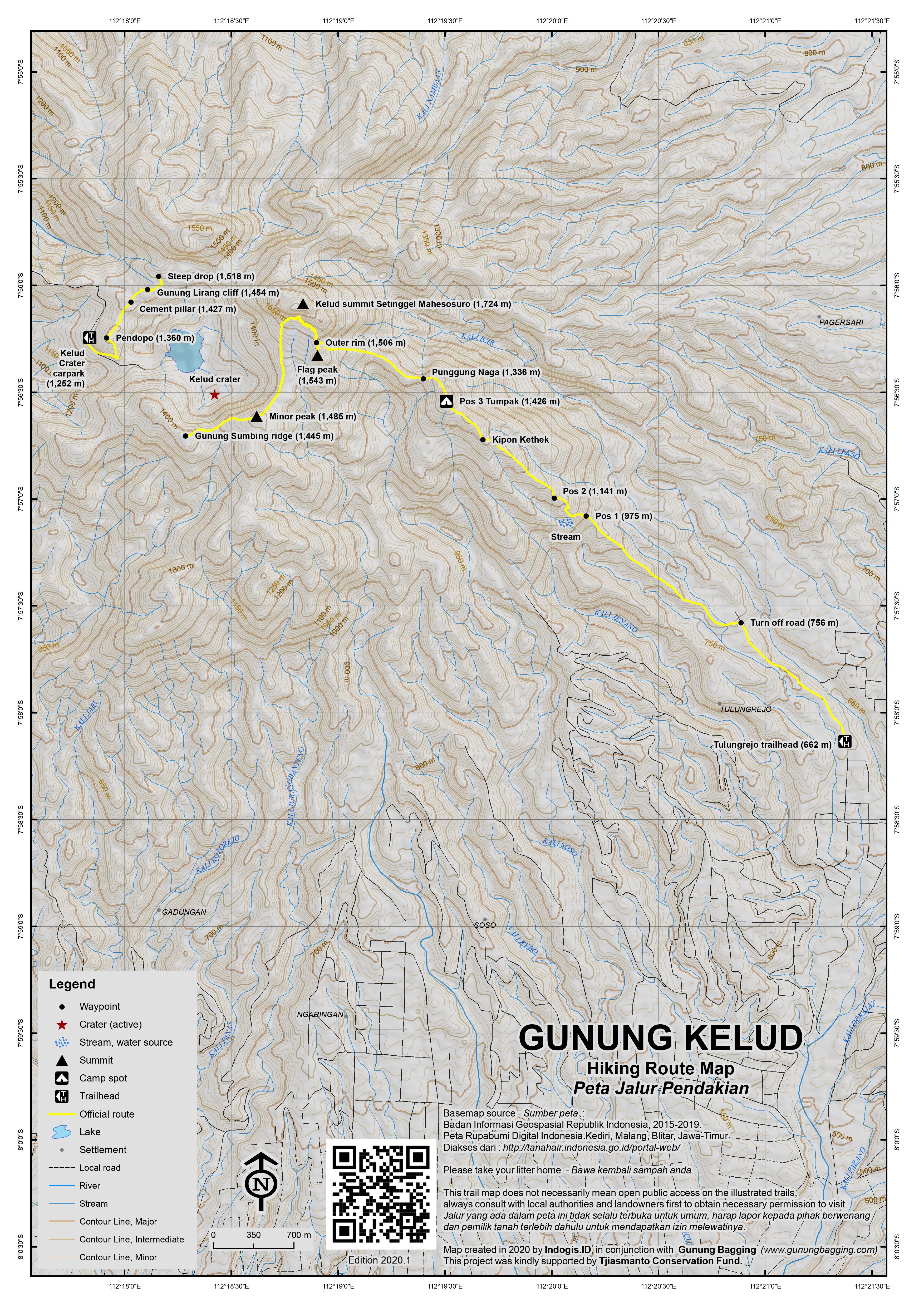 Peta Jalur Pendakian Gunung Kelud