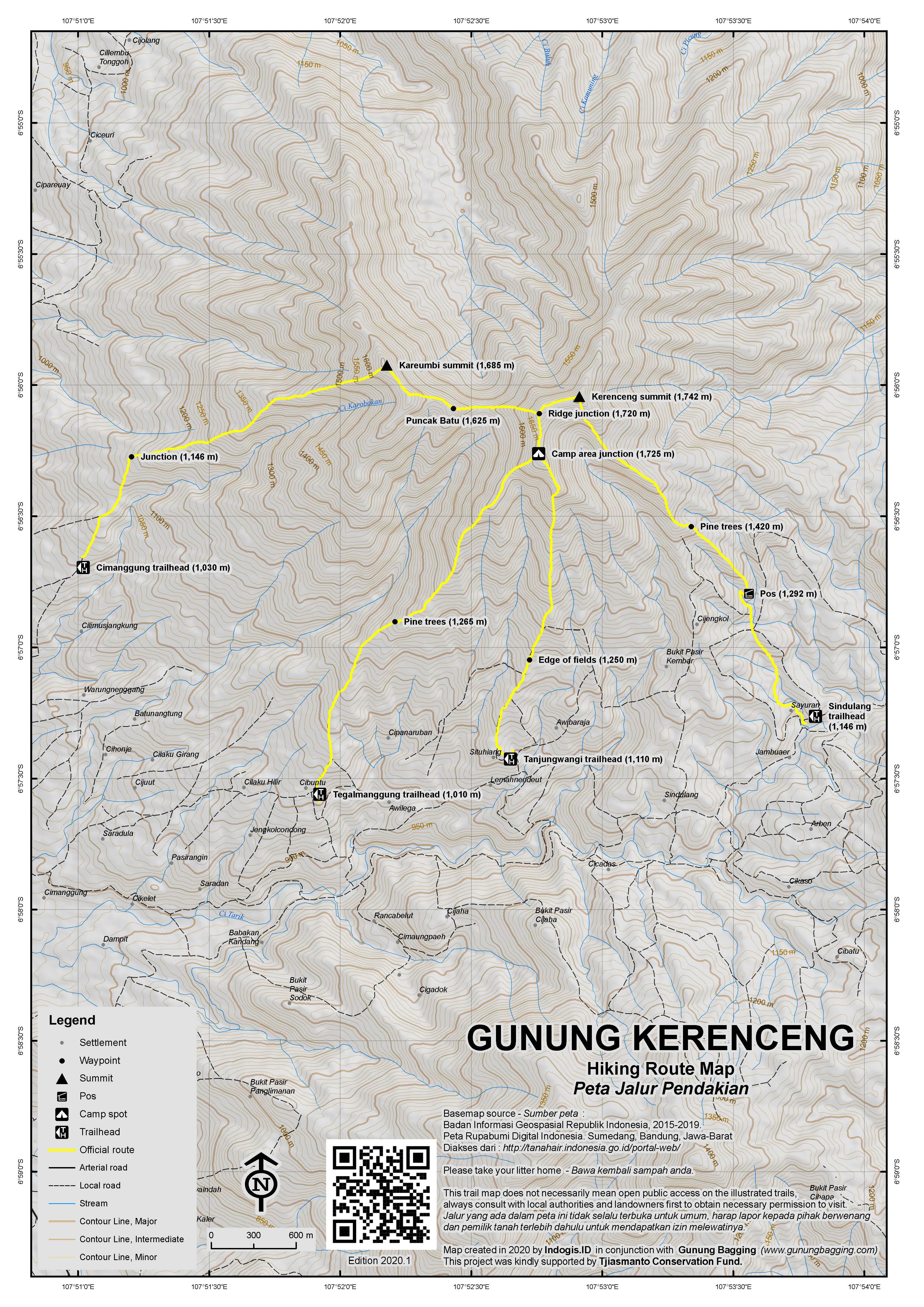 Peta Jalur Pendakian Gunung Kerenceng