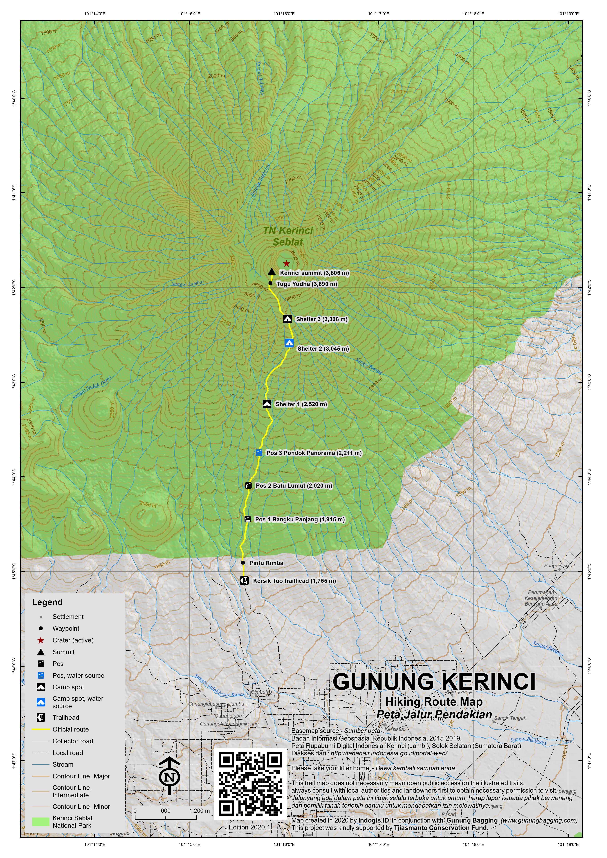 Peta Jalur Pendakian Gunung Kerinci