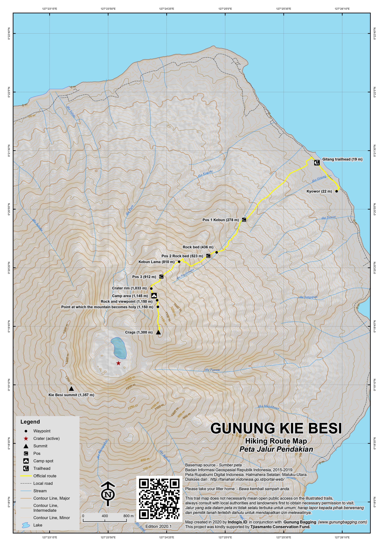 Peta Jalur Pendakian Gunung Kie Besi