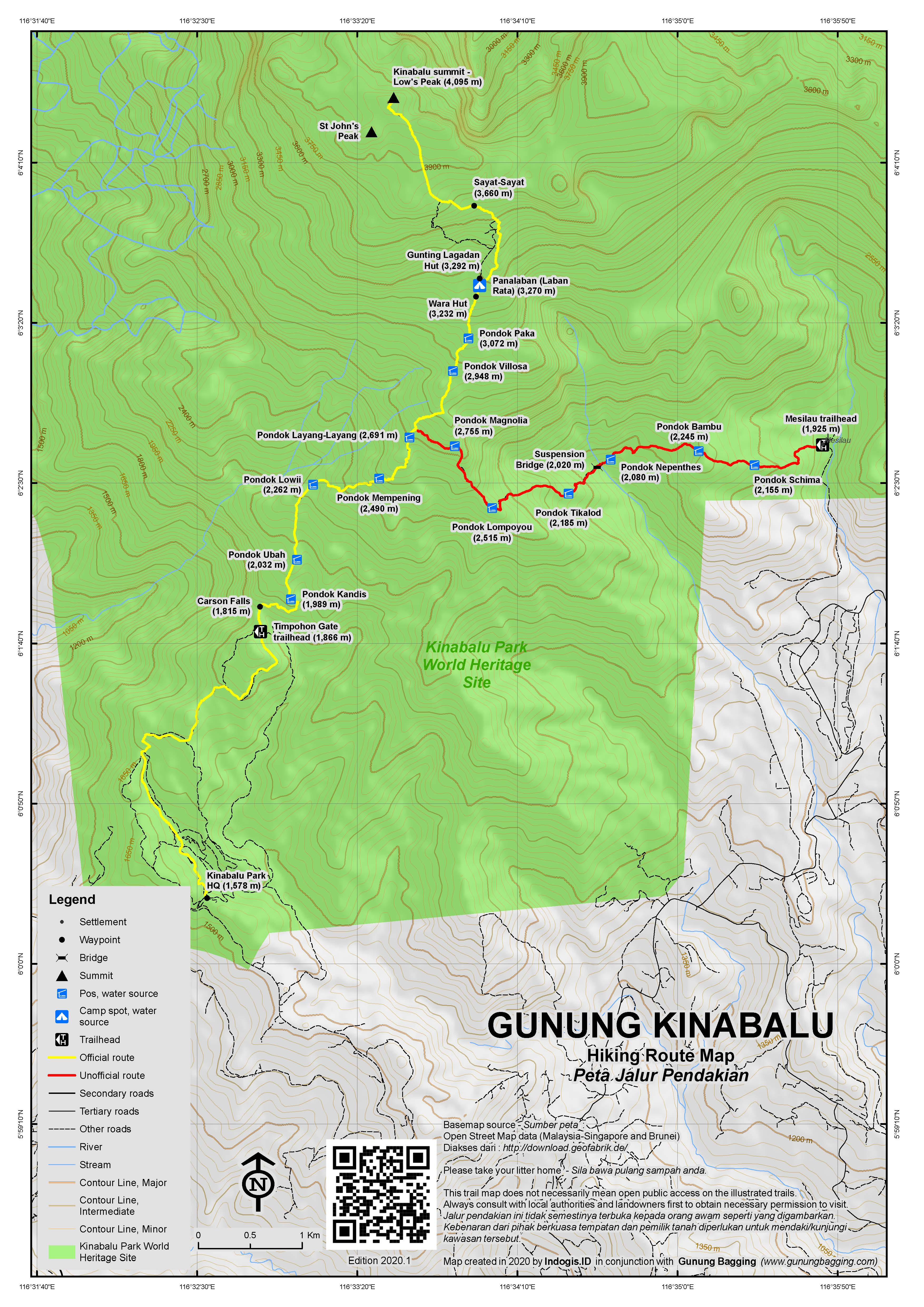Peta Jalur Pendakian Gunung Kinabalu