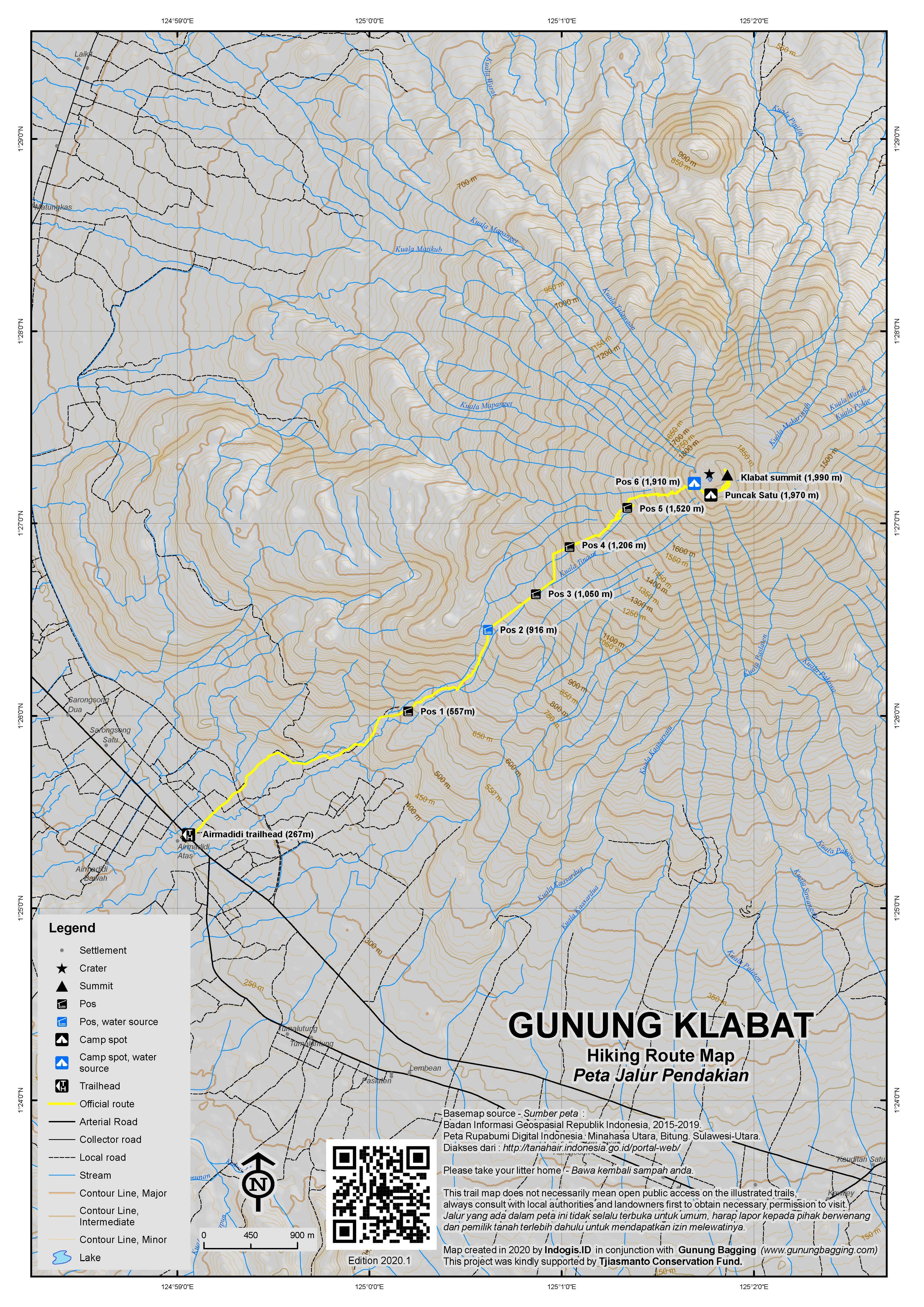 Peta Jalur Pendakian Gunung Klabat