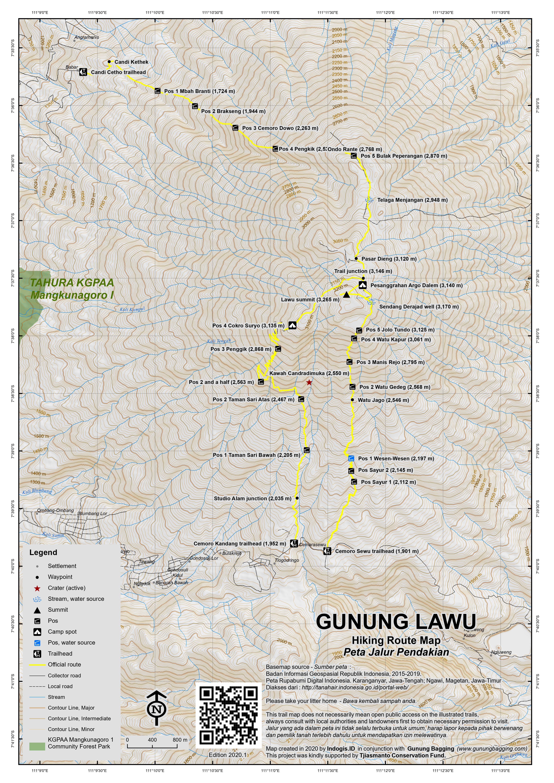 Peta Jalur Pendakian Gunung Lawu