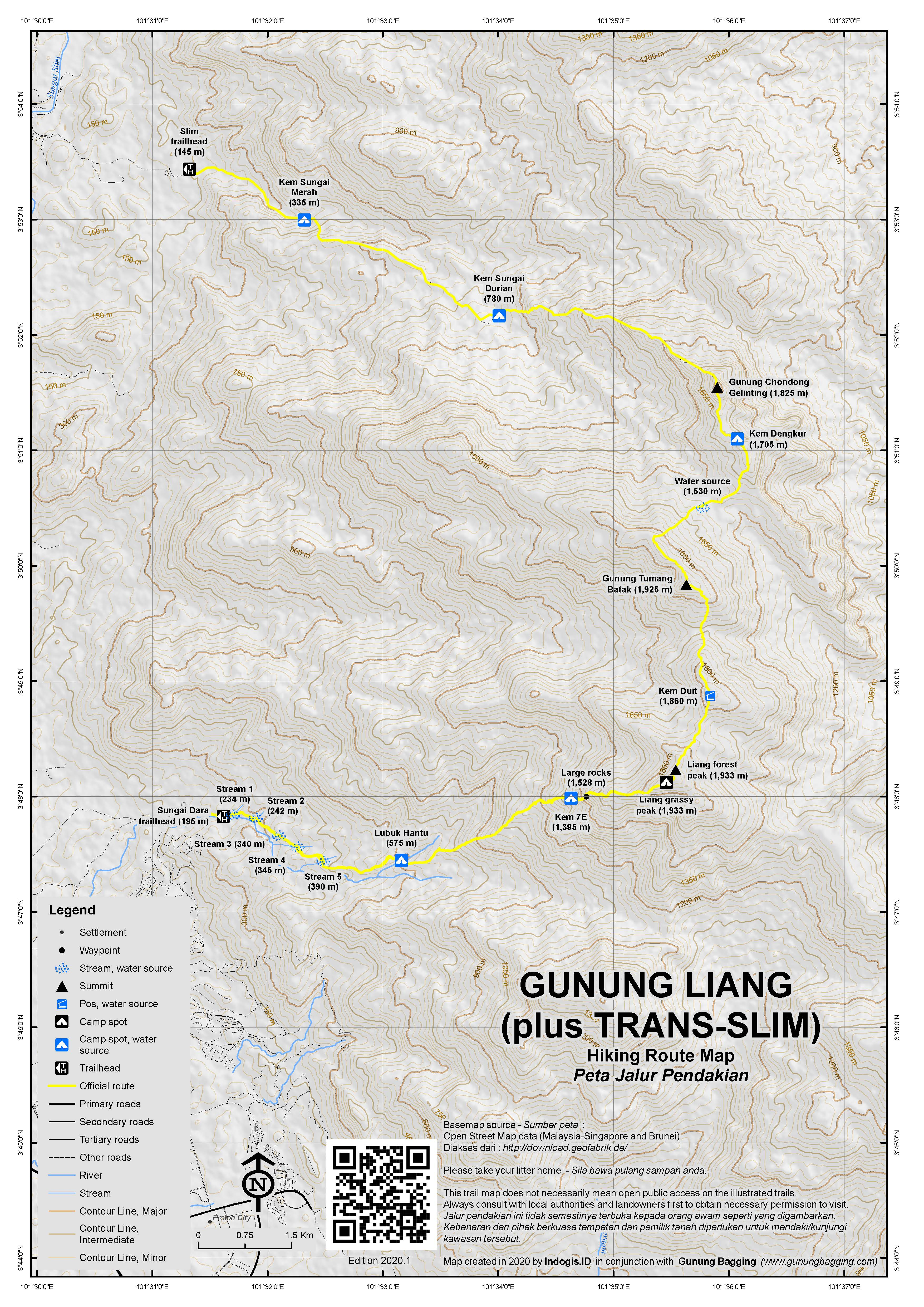 Peta Jalur Pendakian Gunung Liang