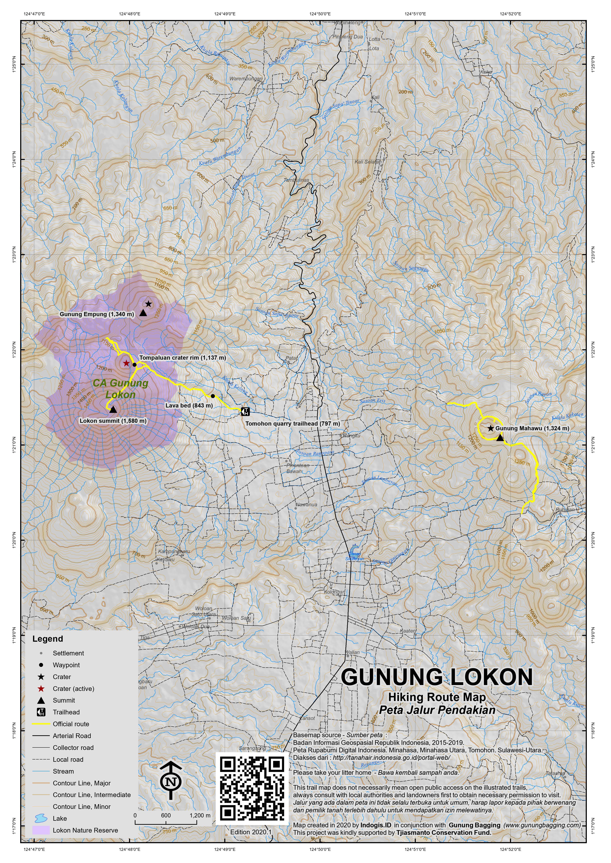 Peta Jalur Pendakian Gunung Lokon