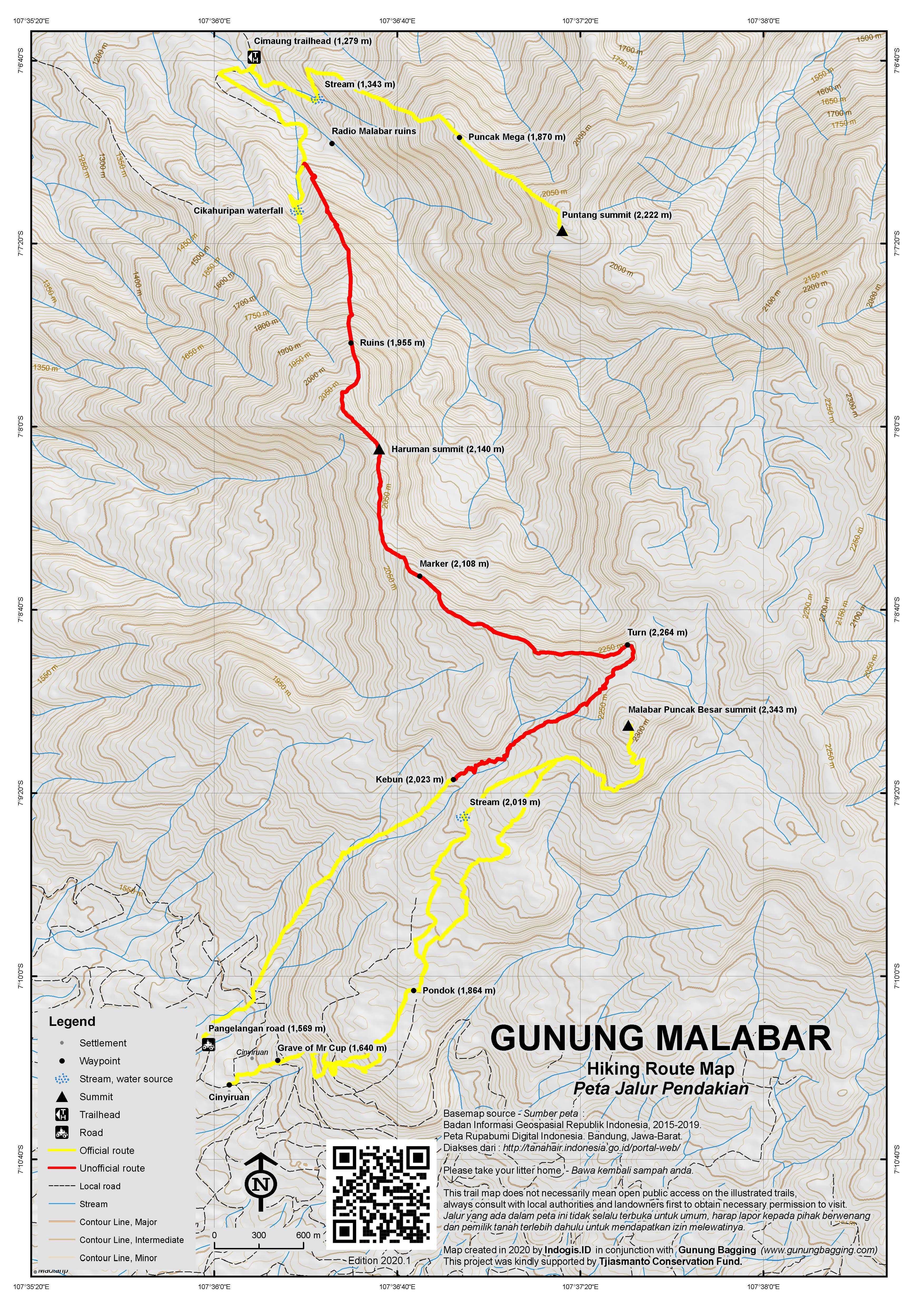 Peta Jalur Pendakian Gunung Malabar