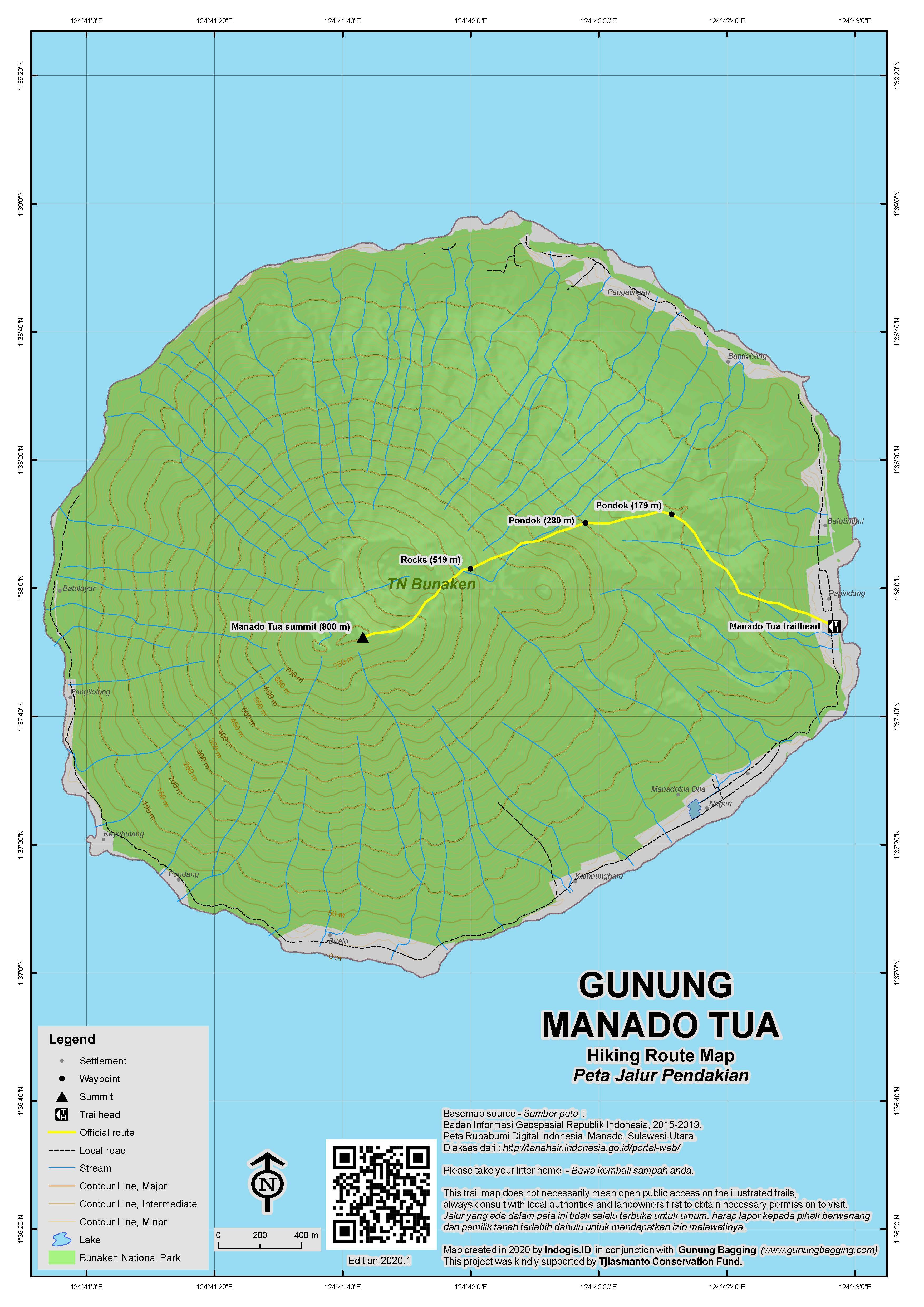 Peta Jalur Pendakian Gunung Manado Tua