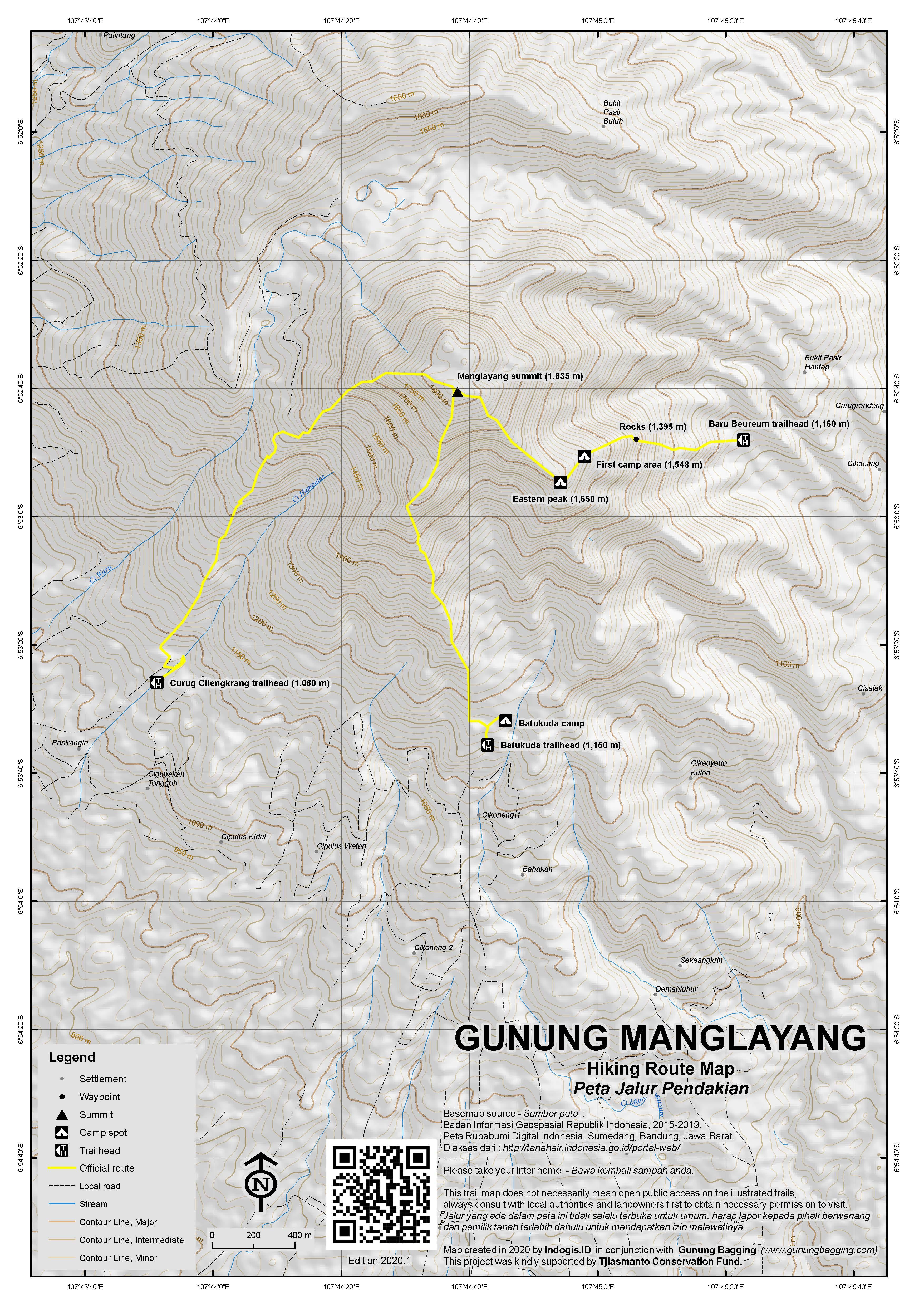 Peta Jalur Pendakian Gunung Manglayang