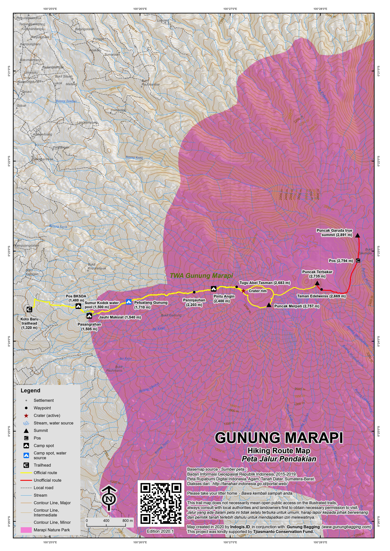 Peta Jalur Pendakian Gunung Marapi