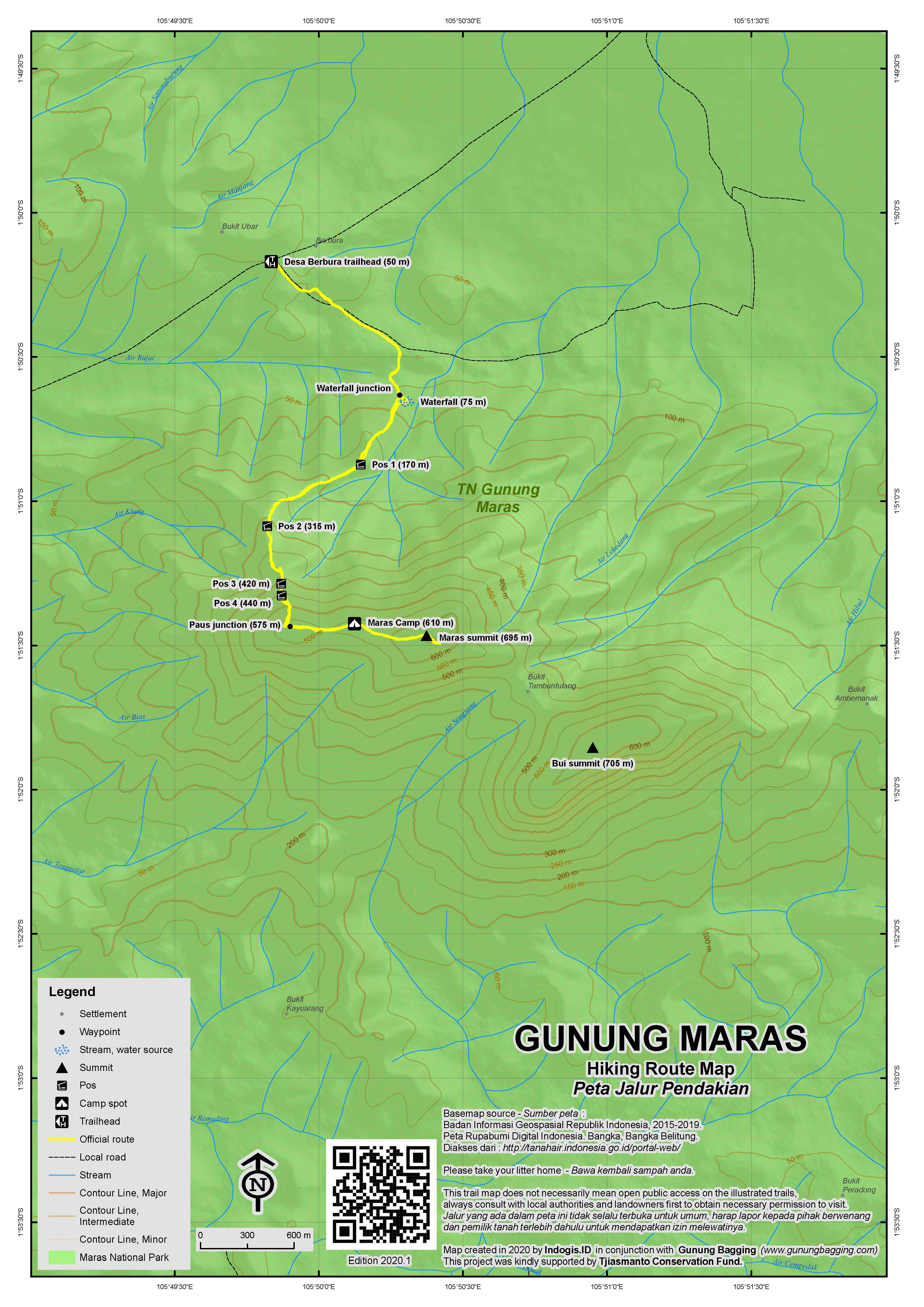 Peta Jalur Pendakian Gunung Maras