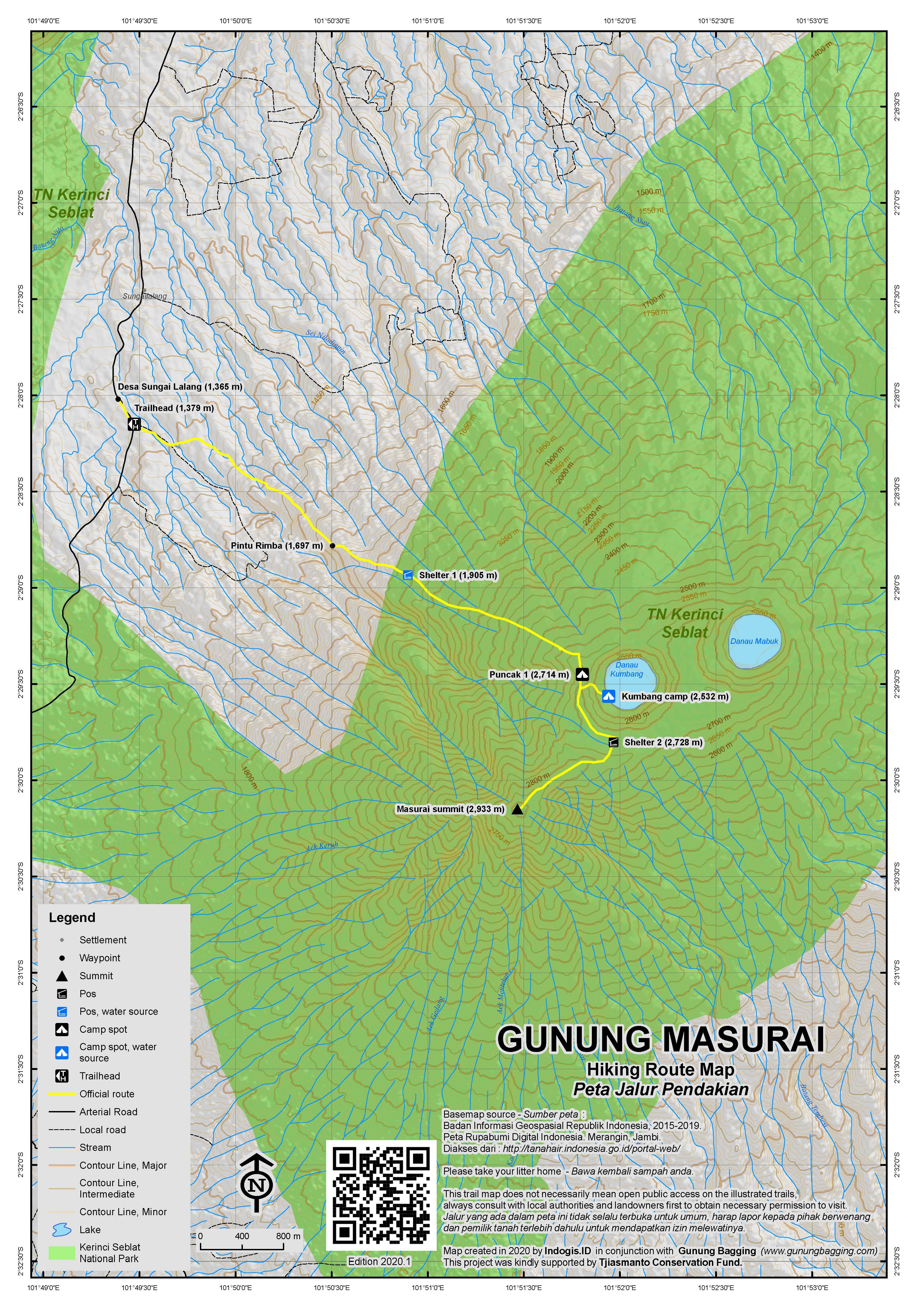 Peta Jalur Pendakian Gunung Masurai